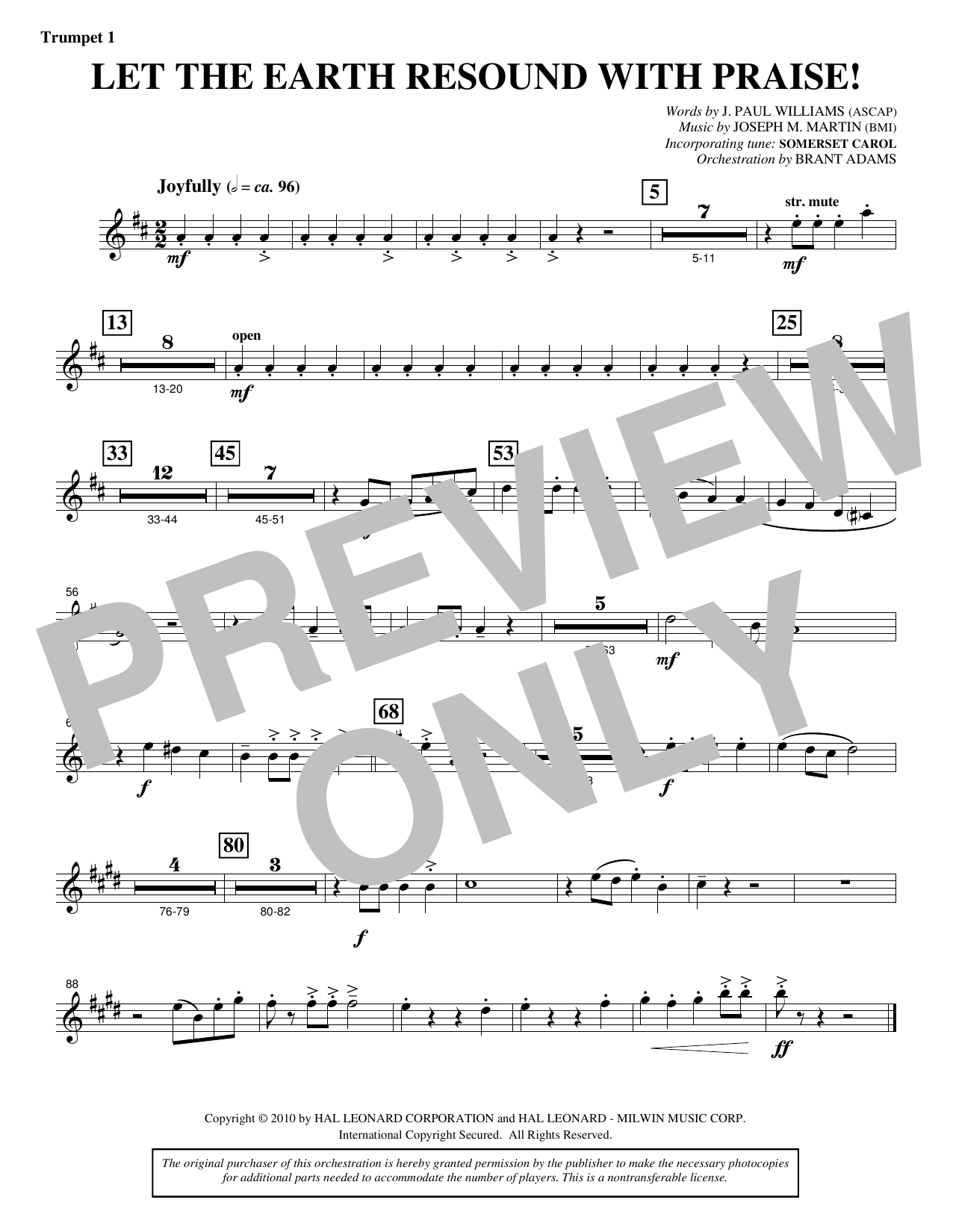 Let The Earth Resound with Praise! - Bb Trumpet 1 Sheet Music