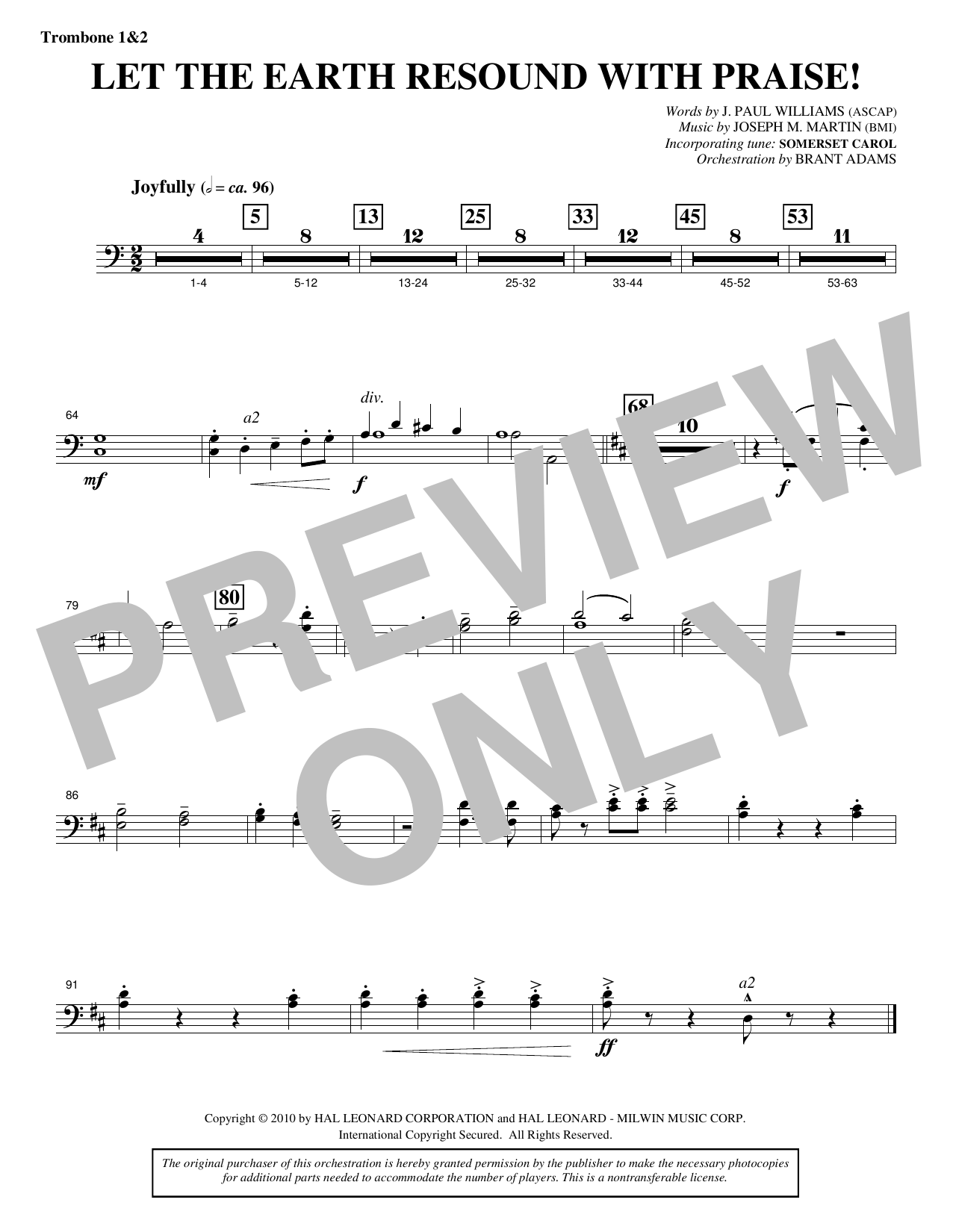 Let The Earth Resound with Praise! - Trombone 1 & 2 (Choir Instrumental Pak)
