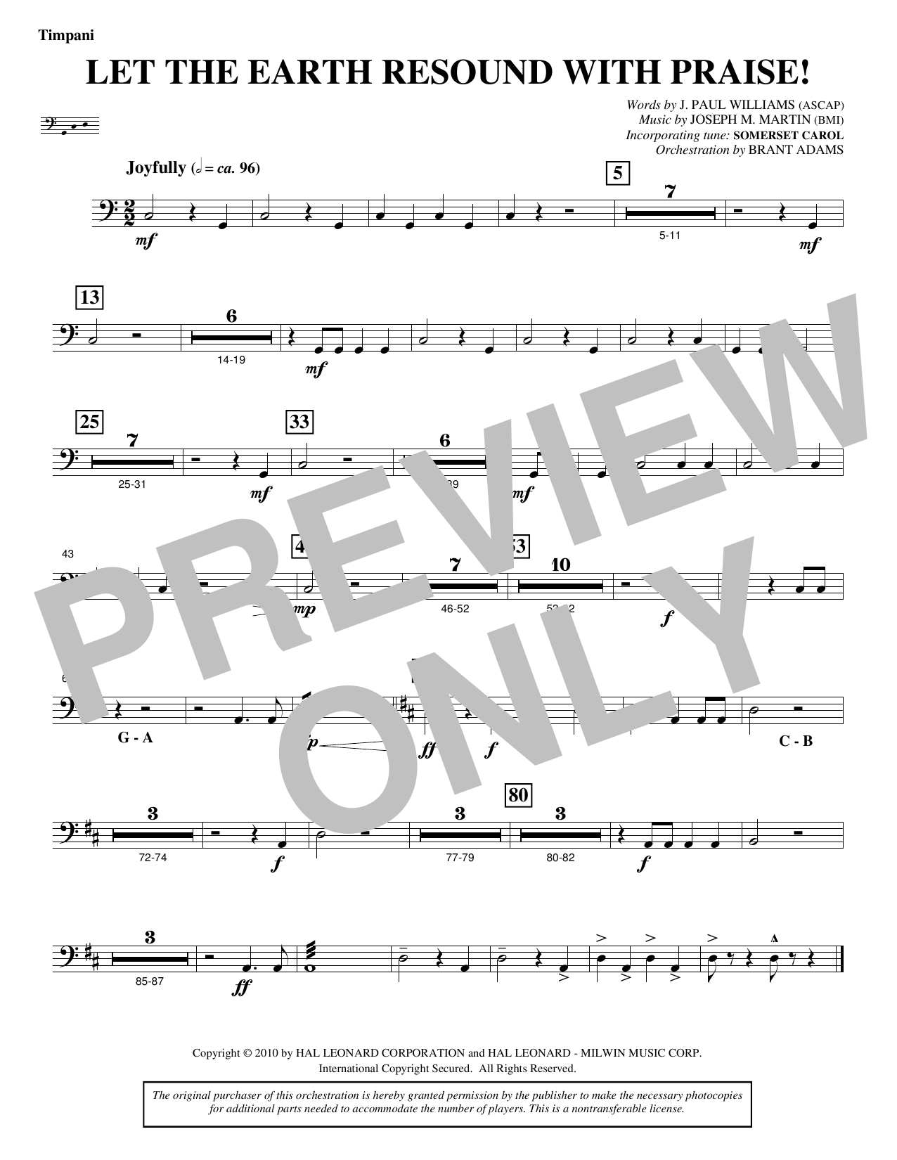 Let The Earth Resound with Praise! - Timpani Sheet Music