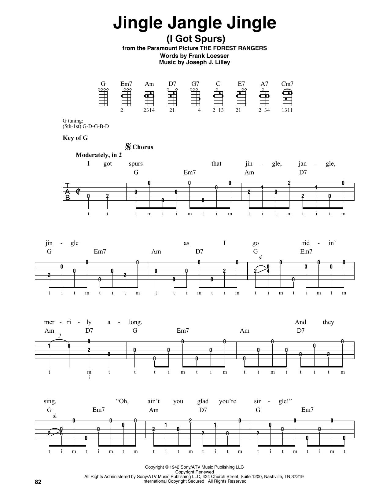 Jingle Jangle Jingle (I Got Spurs) (Banjo Tab)