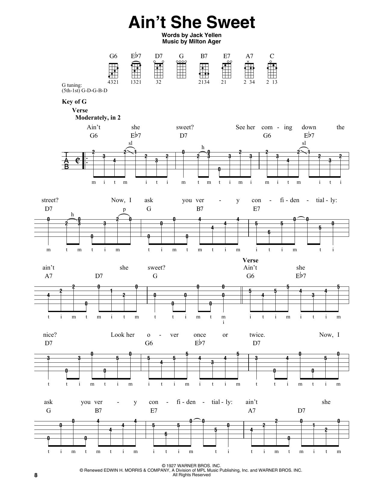 Ain't She Sweet (Banjo Tab)