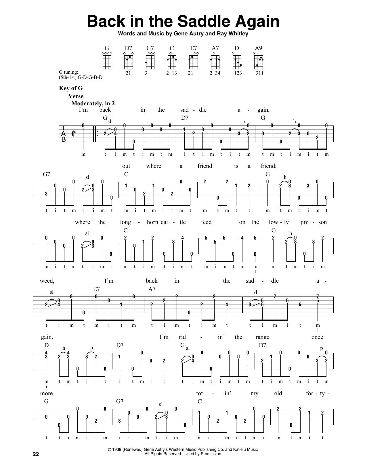 Back In The Saddle Again (Banjo Tab)