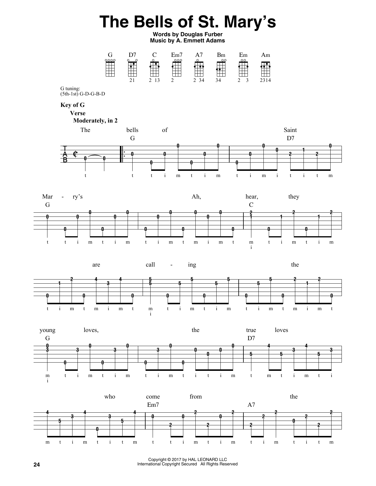 The Bells Of St. Mary's (Banjo Tab)