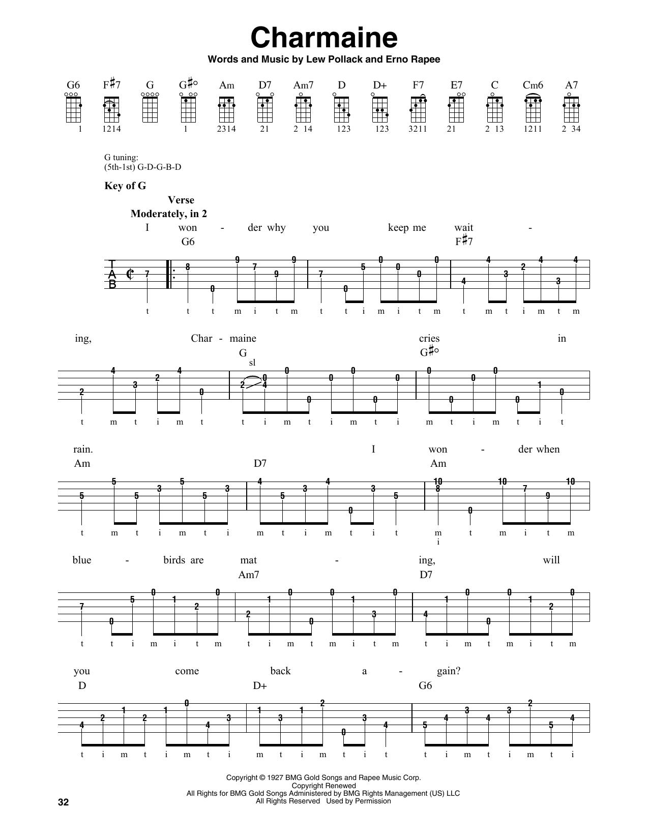 Charmaine (Banjo Tab)