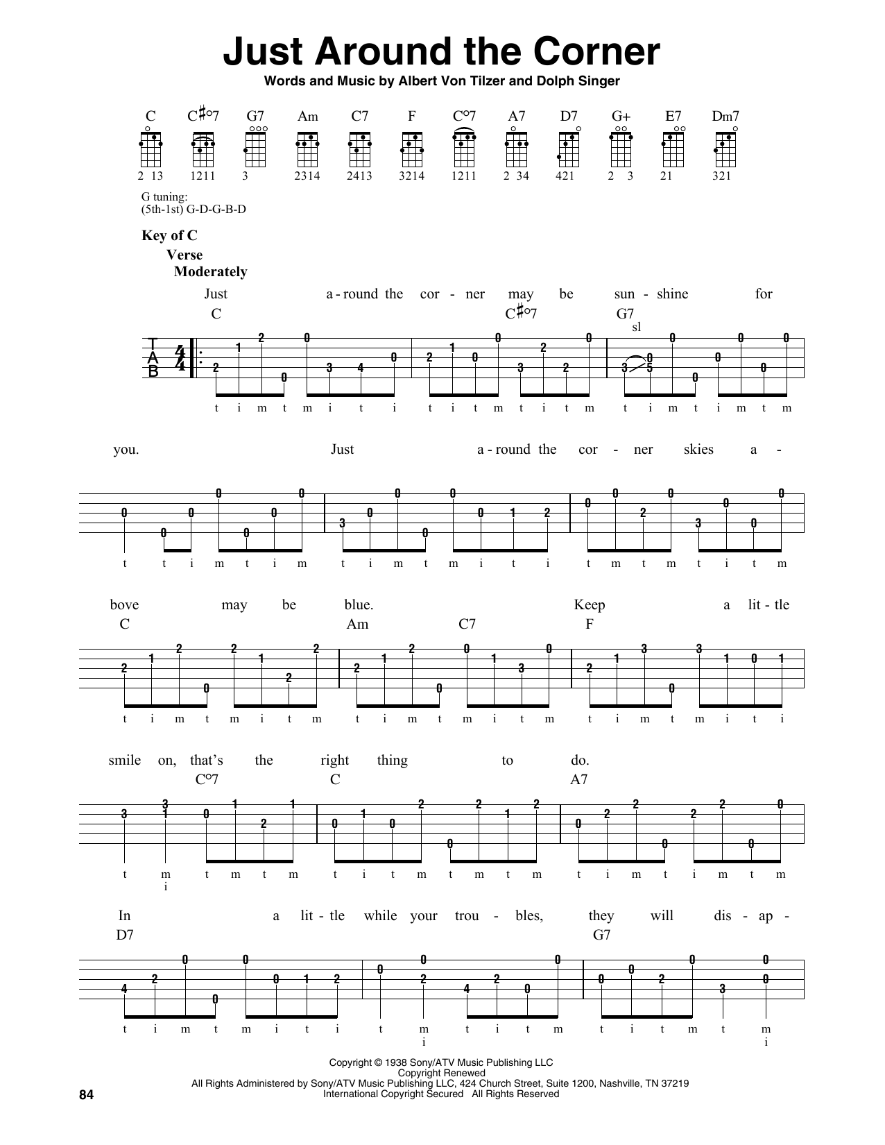 Just Around The Corner (Banjo Tab)