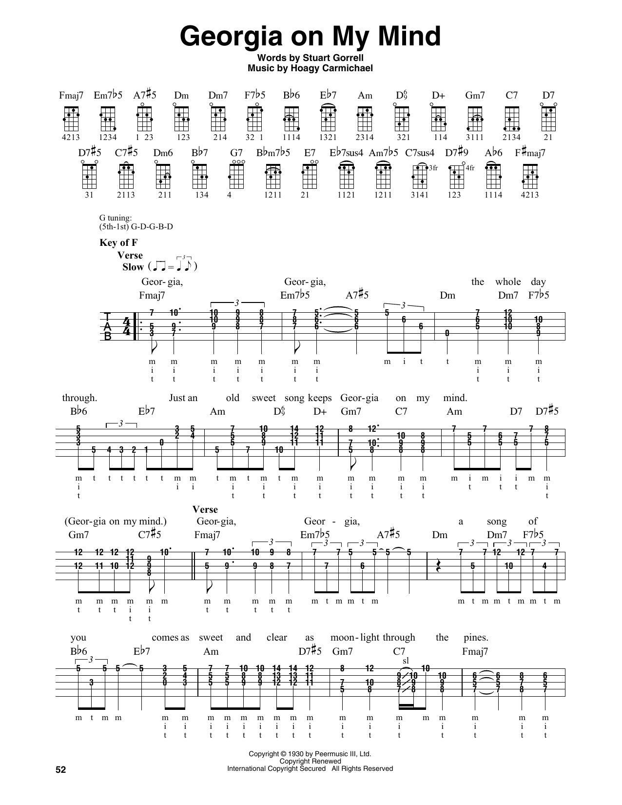 Georgia On My Mind (Banjo Tab)
