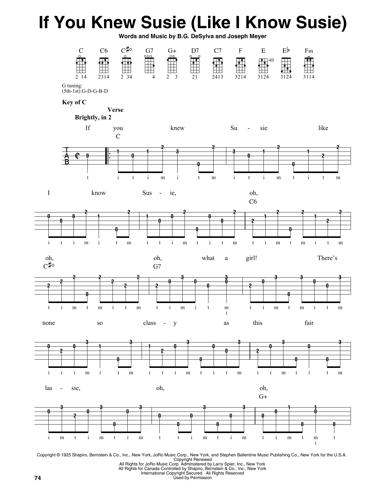 If You Knew Susie (Like I Know Susie) (Banjo Tab)