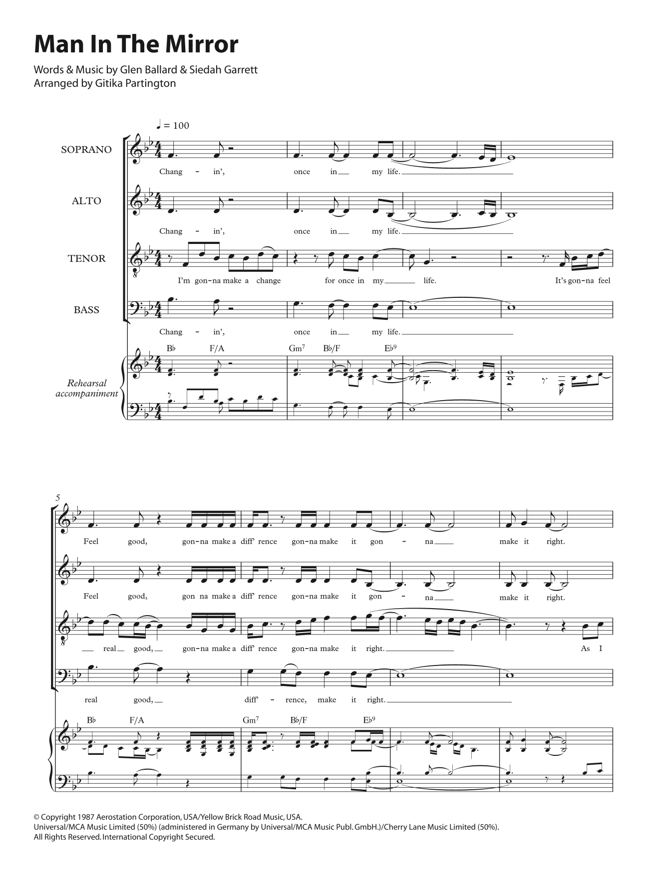 Man In The Mirror (arr. Gitika Partington) Sheet Music