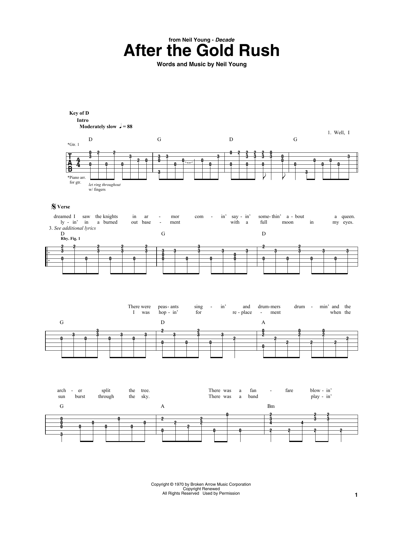 After The Gold Rush (Guitar Rhythm Tab)