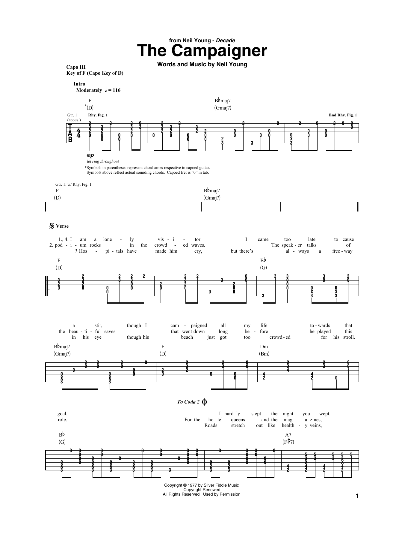 The Campaigner (Guitar Rhythm Tab)