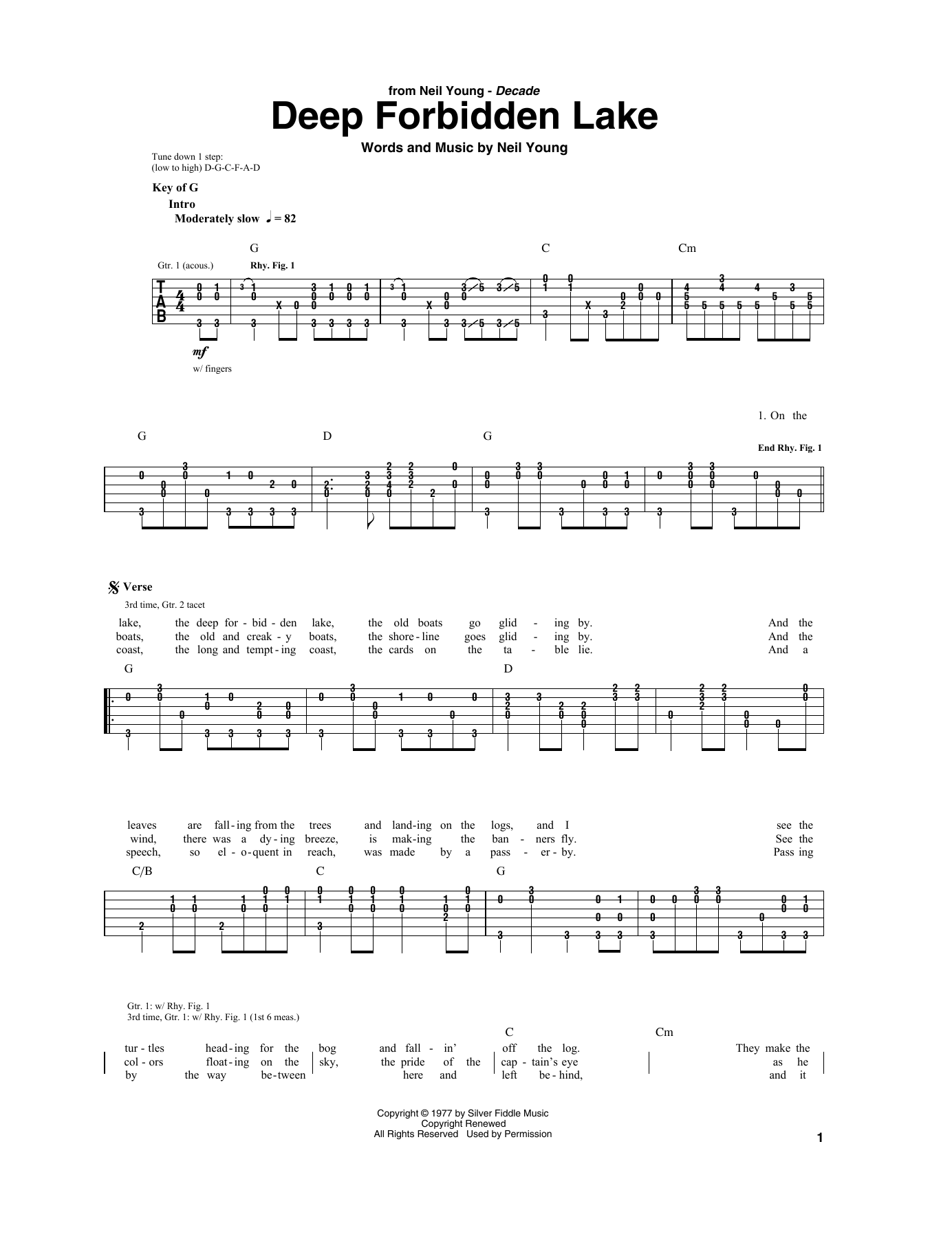 Deep Forbidden Lake (Guitar Rhythm Tab)