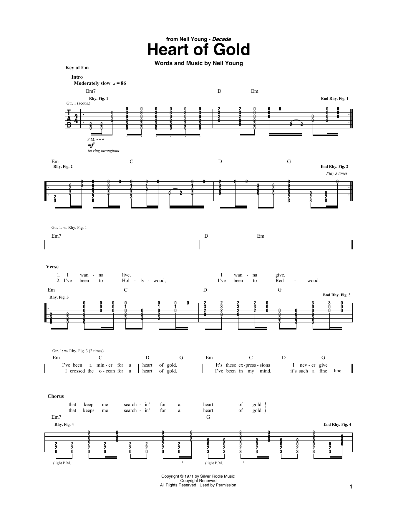 Heart Of Gold (Guitar Rhythm Tab)
