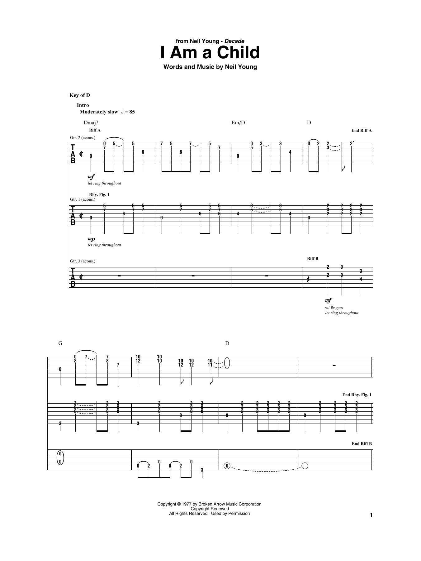 I Am A Child (Guitar Rhythm Tab)