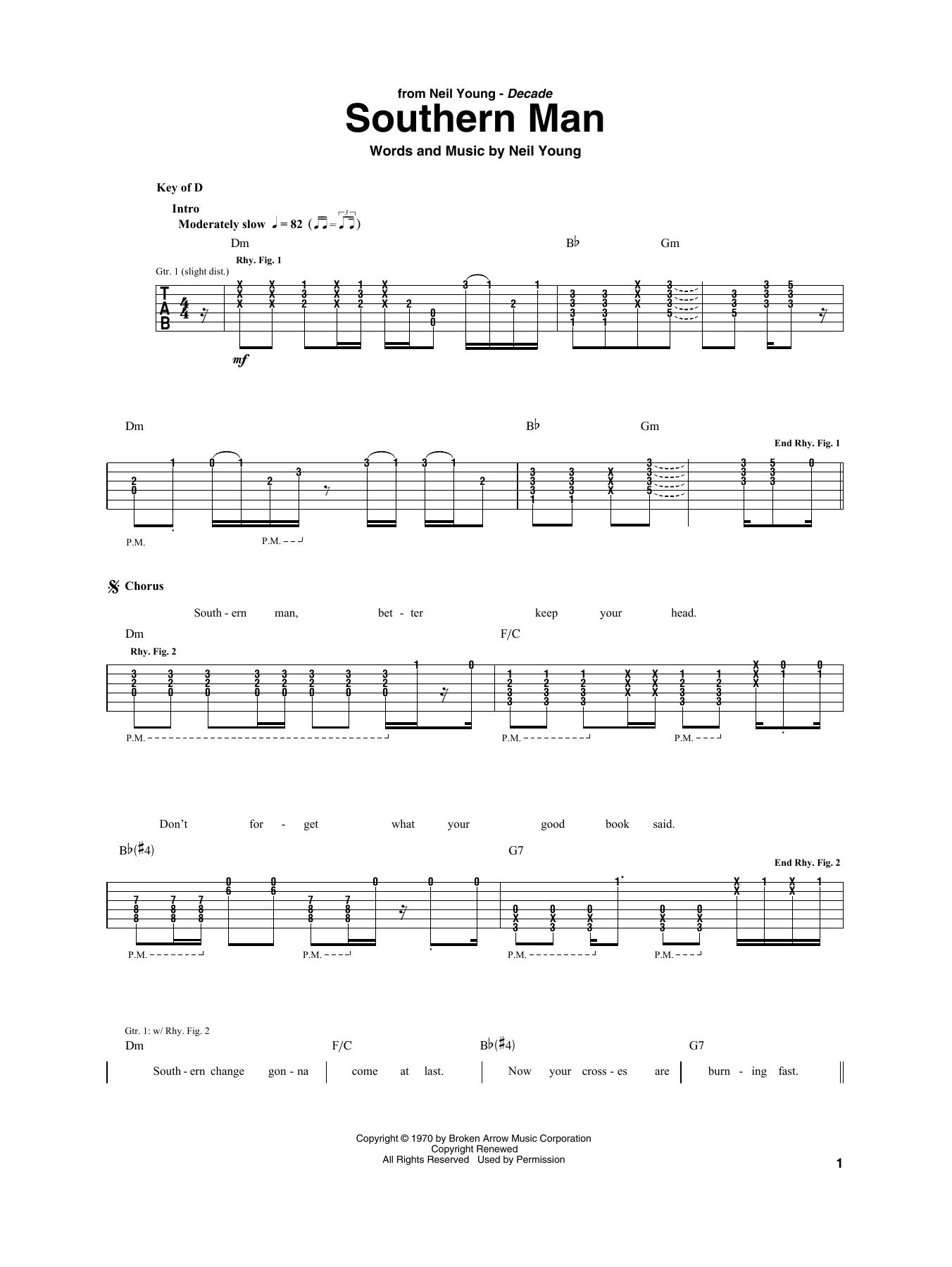 Southern Man (Guitar Rhythm Tab)