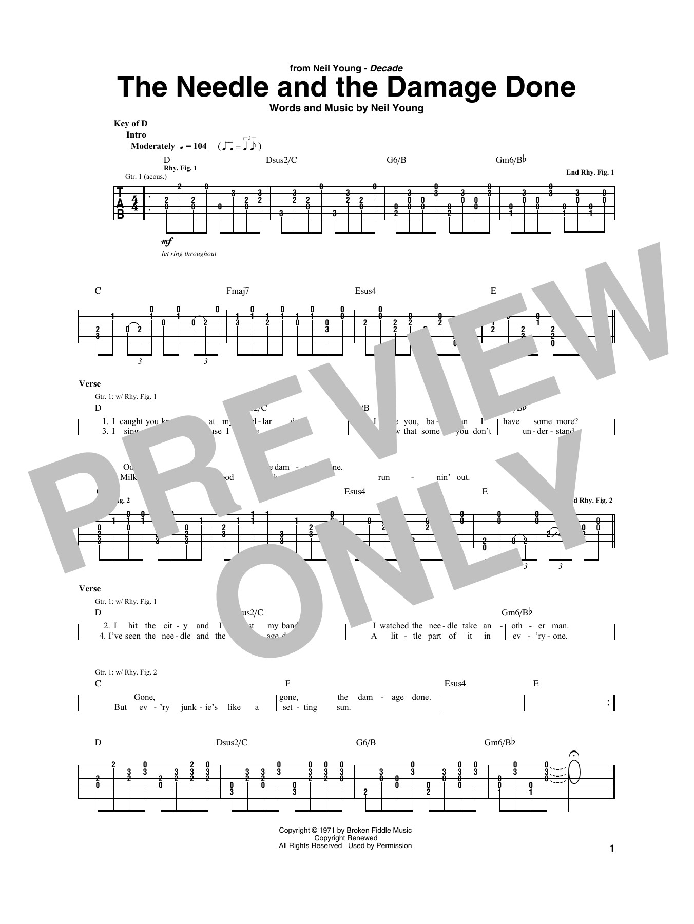 The Needle And The Damage Done Sheet Music   Neil Young   Guitar Rhythm Tab
