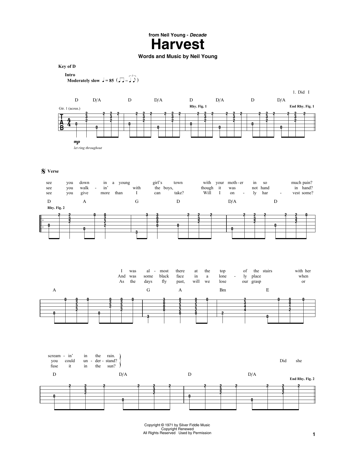 Harvest (Guitar Rhythm Tab)