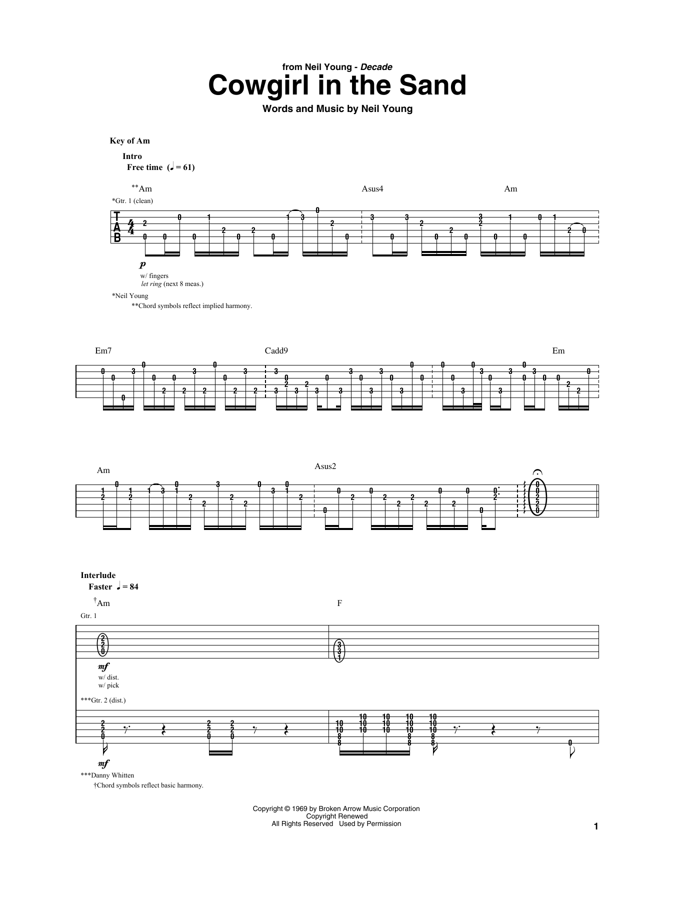 Cowgirl In The Sand (Guitar Rhythm Tab)