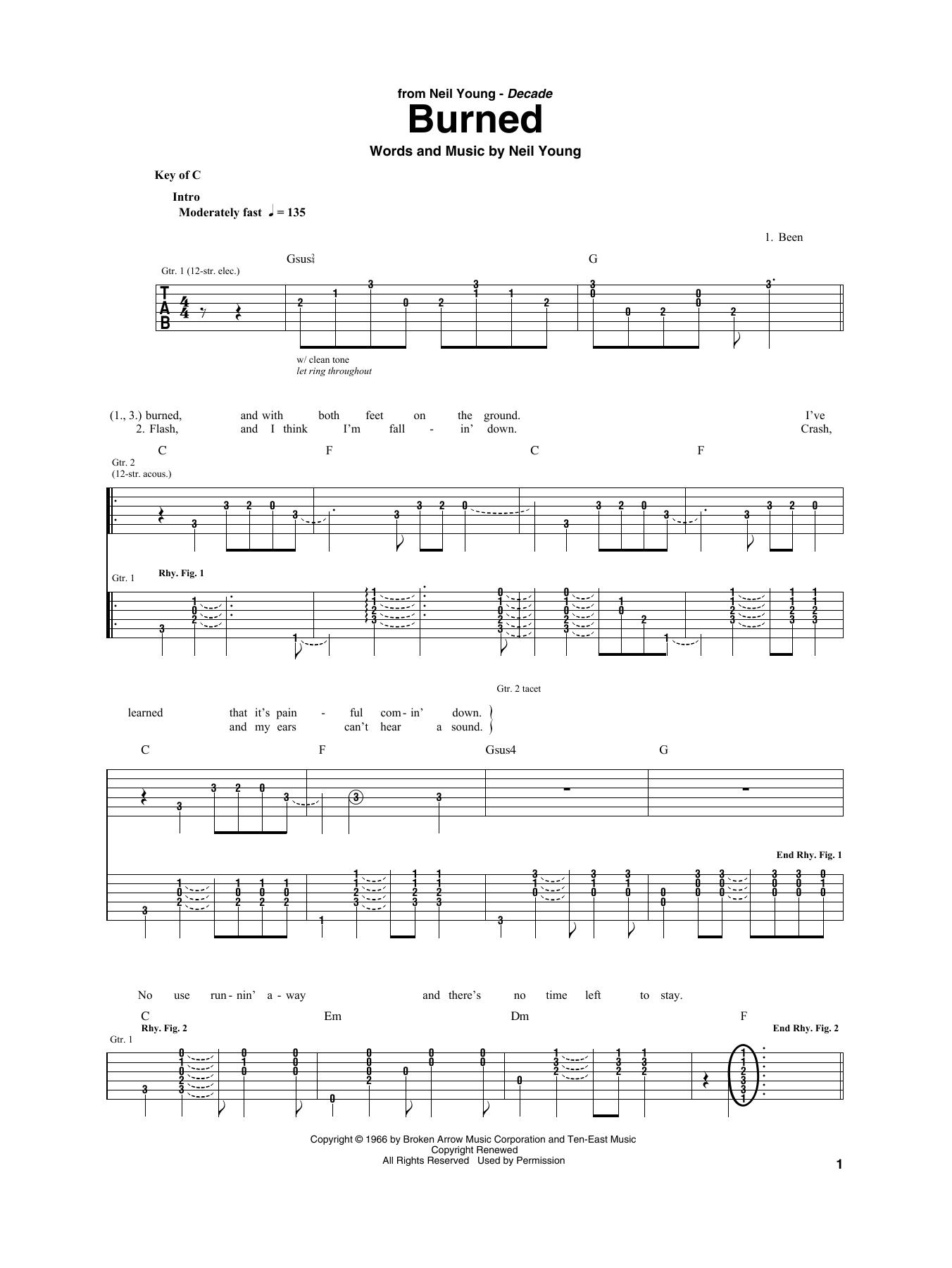Burned (Guitar Rhythm Tab)