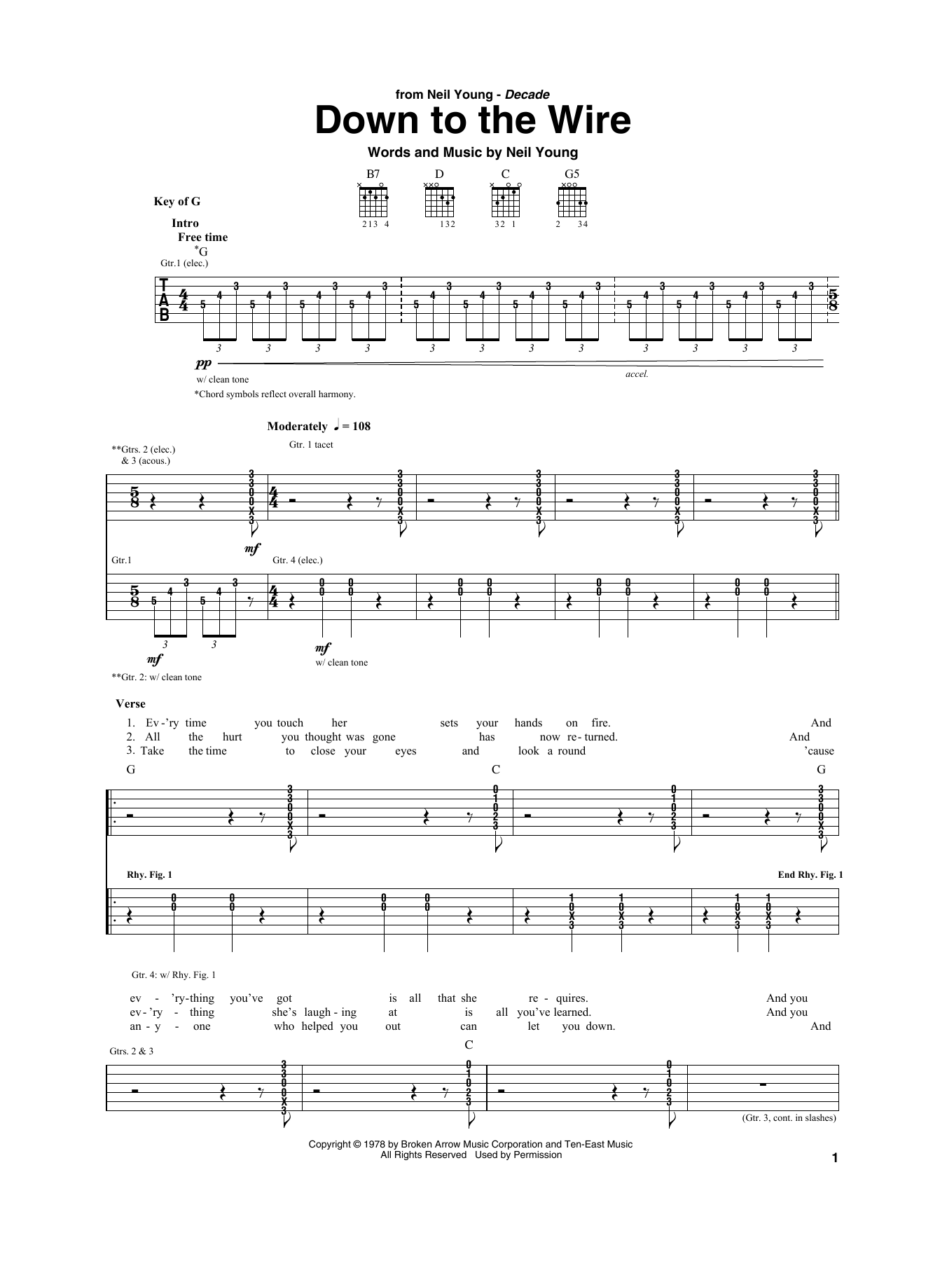 Down To The Wire (Guitar Rhythm Tab)