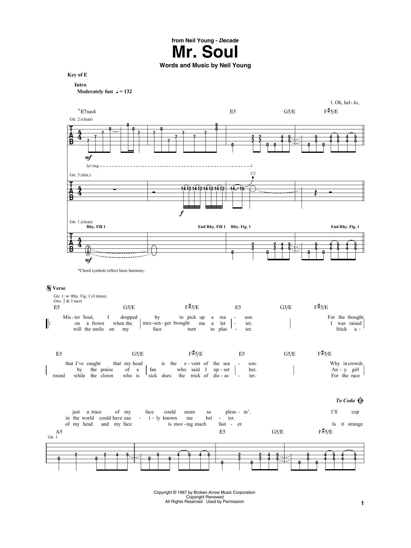 Mr. Soul (Guitar Rhythm Tab)