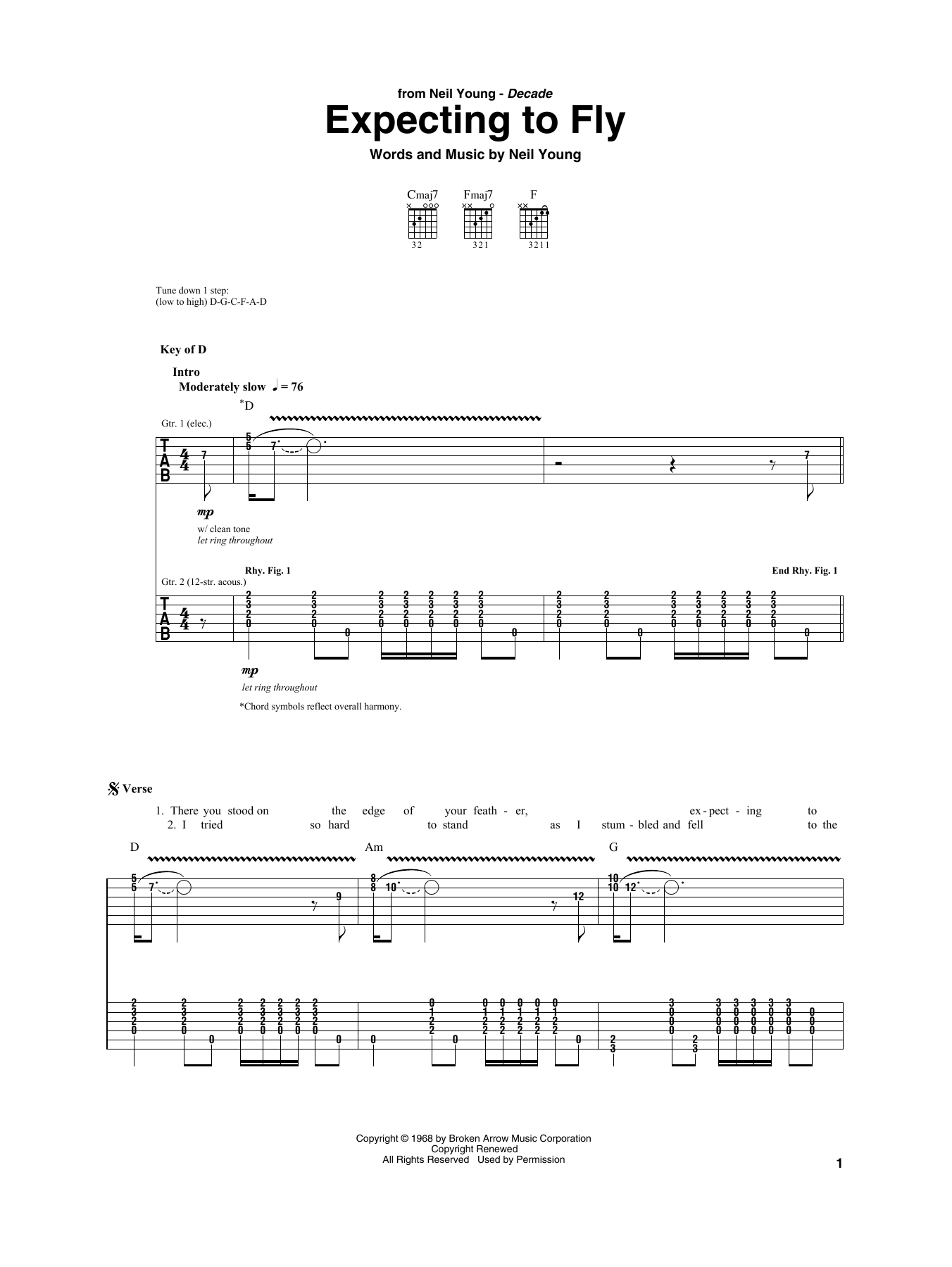 Expecting To Fly Guitar Tab By Neil Young Guitar Tab 185429