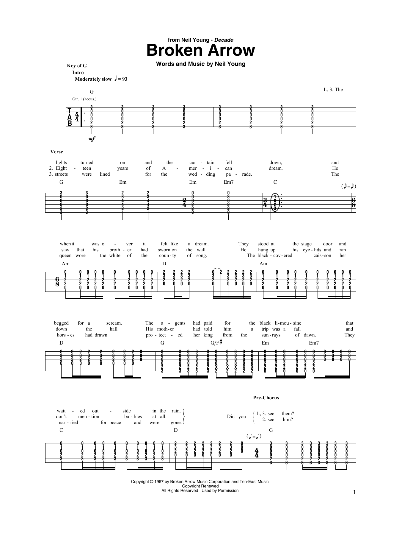 Broken Arrow (Guitar Rhythm Tab)