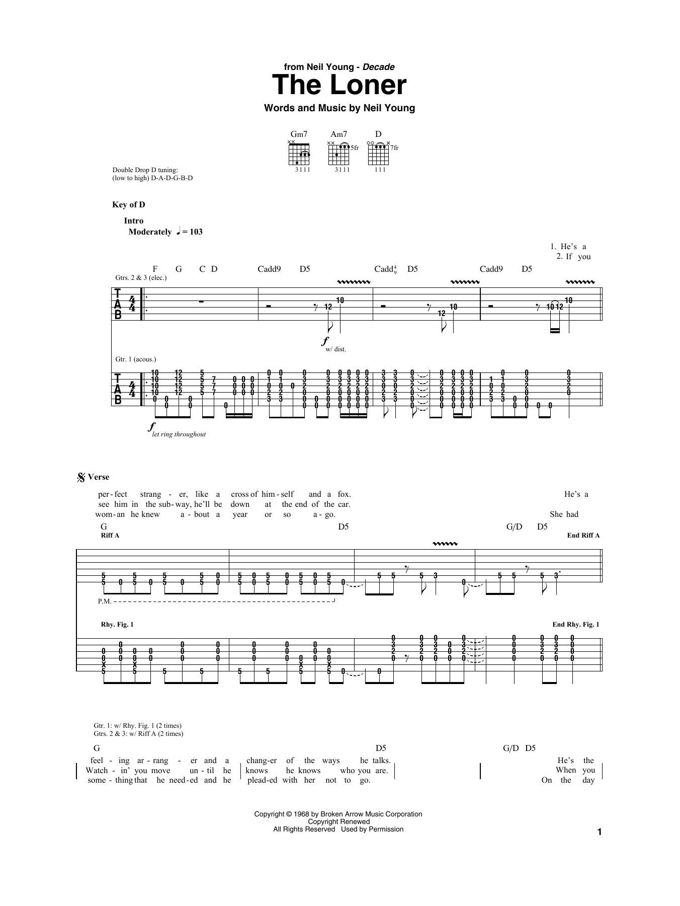The Loner (Guitar Rhythm Tab)