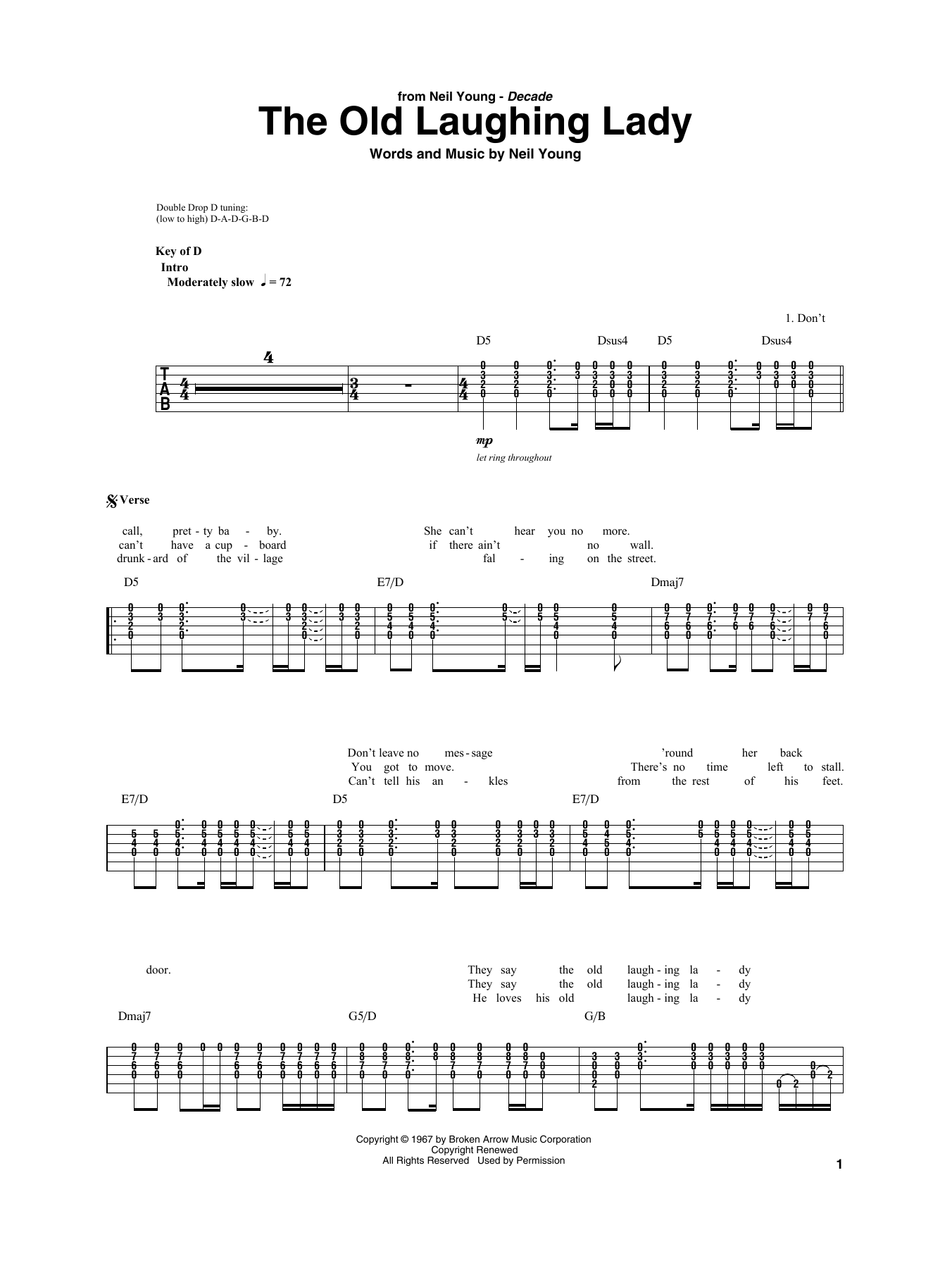 The Old Laughing Lady (Guitar Rhythm Tab)