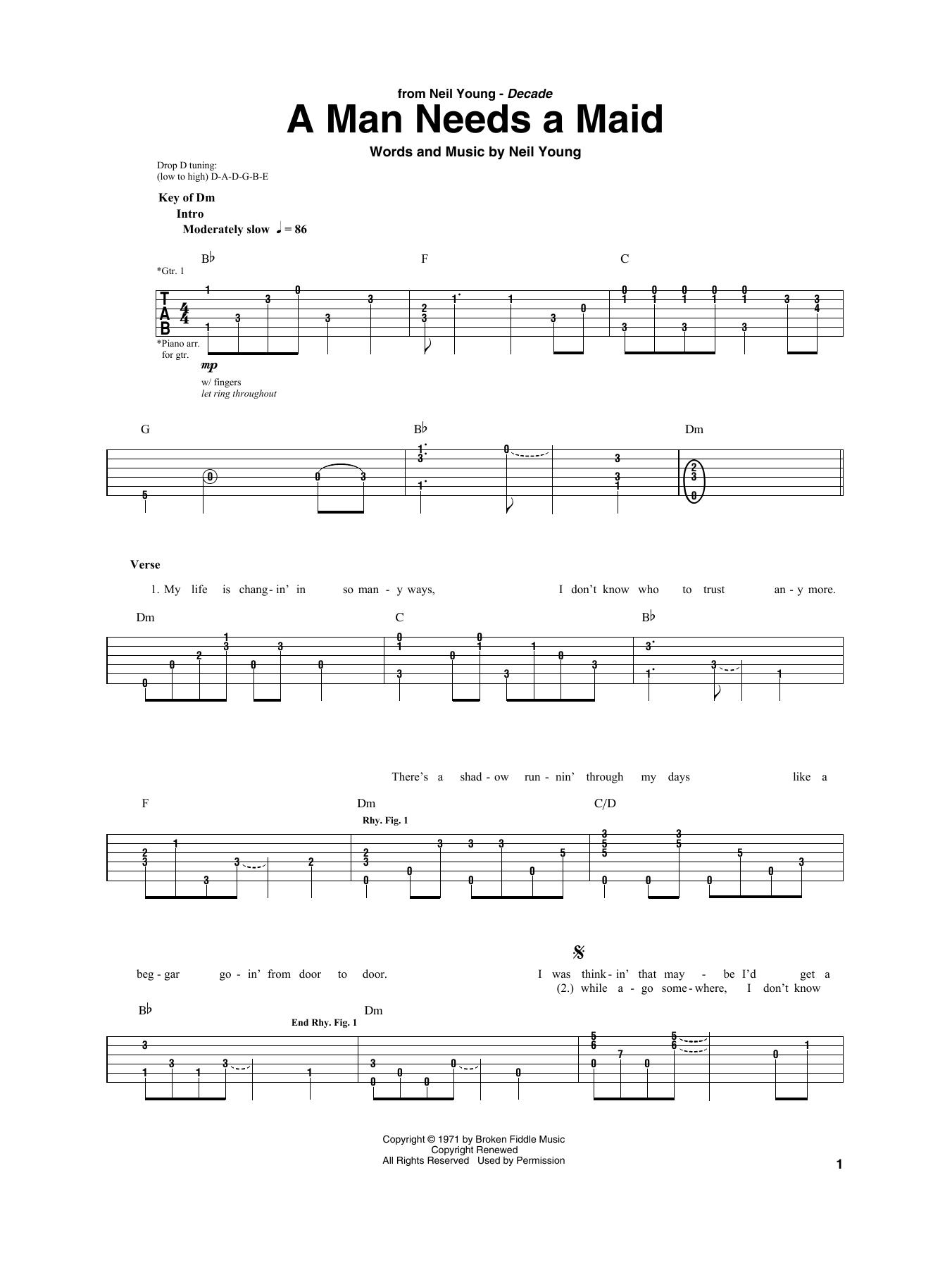 A Man Needs A Maid (Guitar Rhythm Tab)