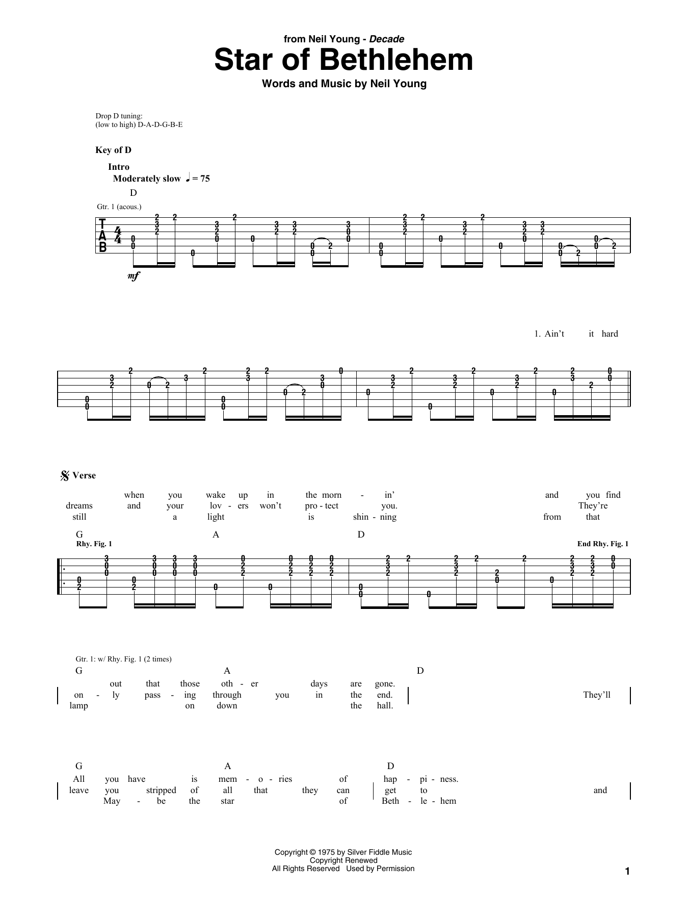 Star Of Bethlehem (Guitar Rhythm Tab)
