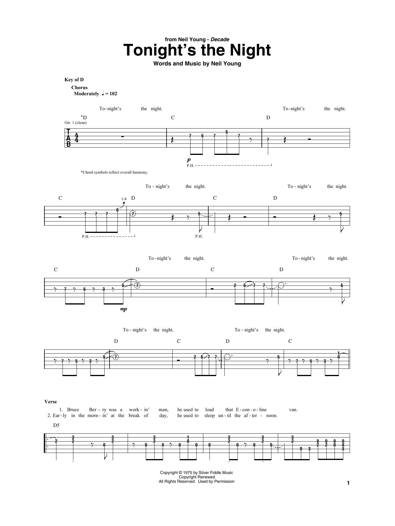 Tonight's The Night (Guitar Rhythm Tab)