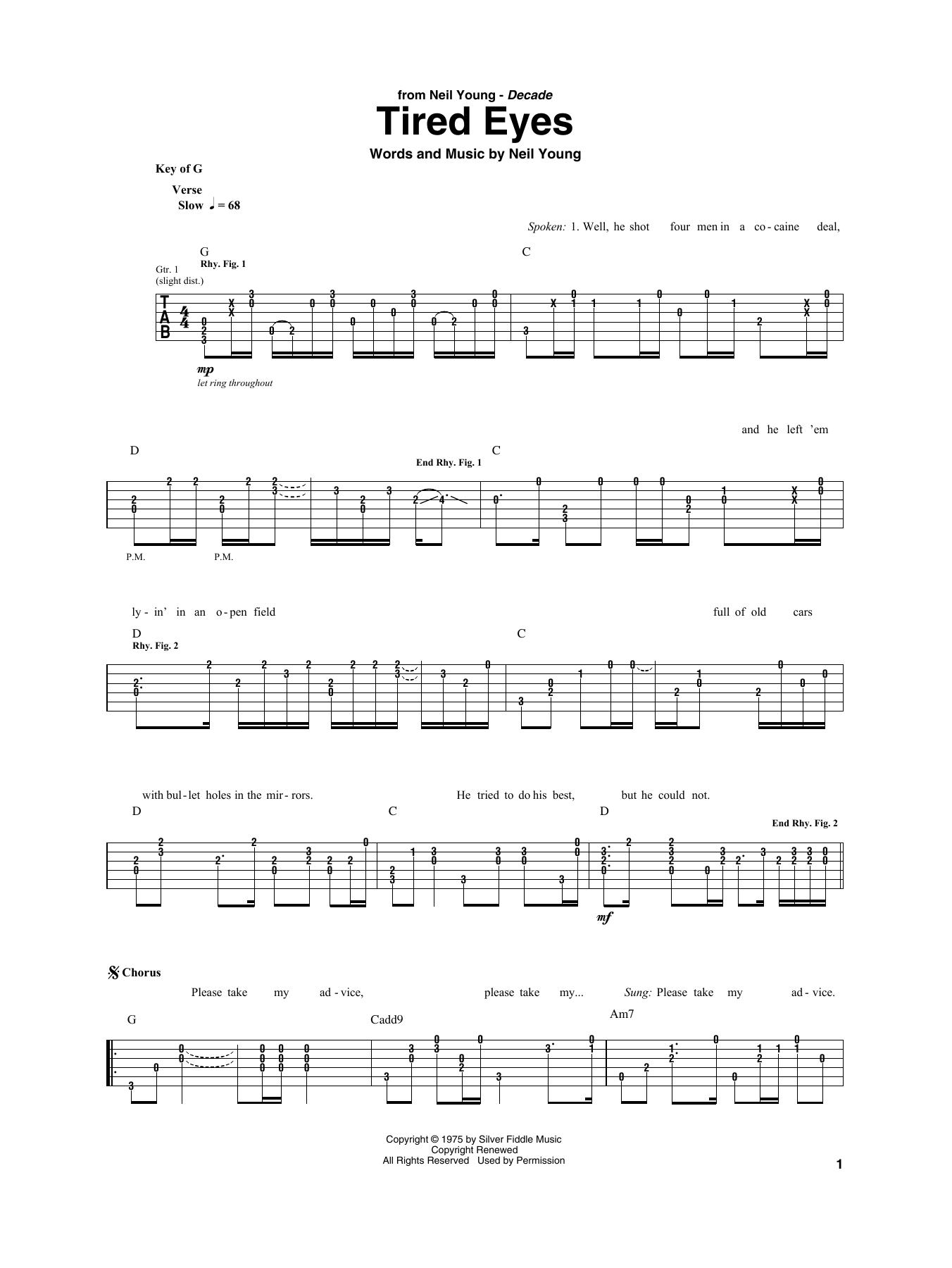 Tired Eyes (Guitar Rhythm Tab)