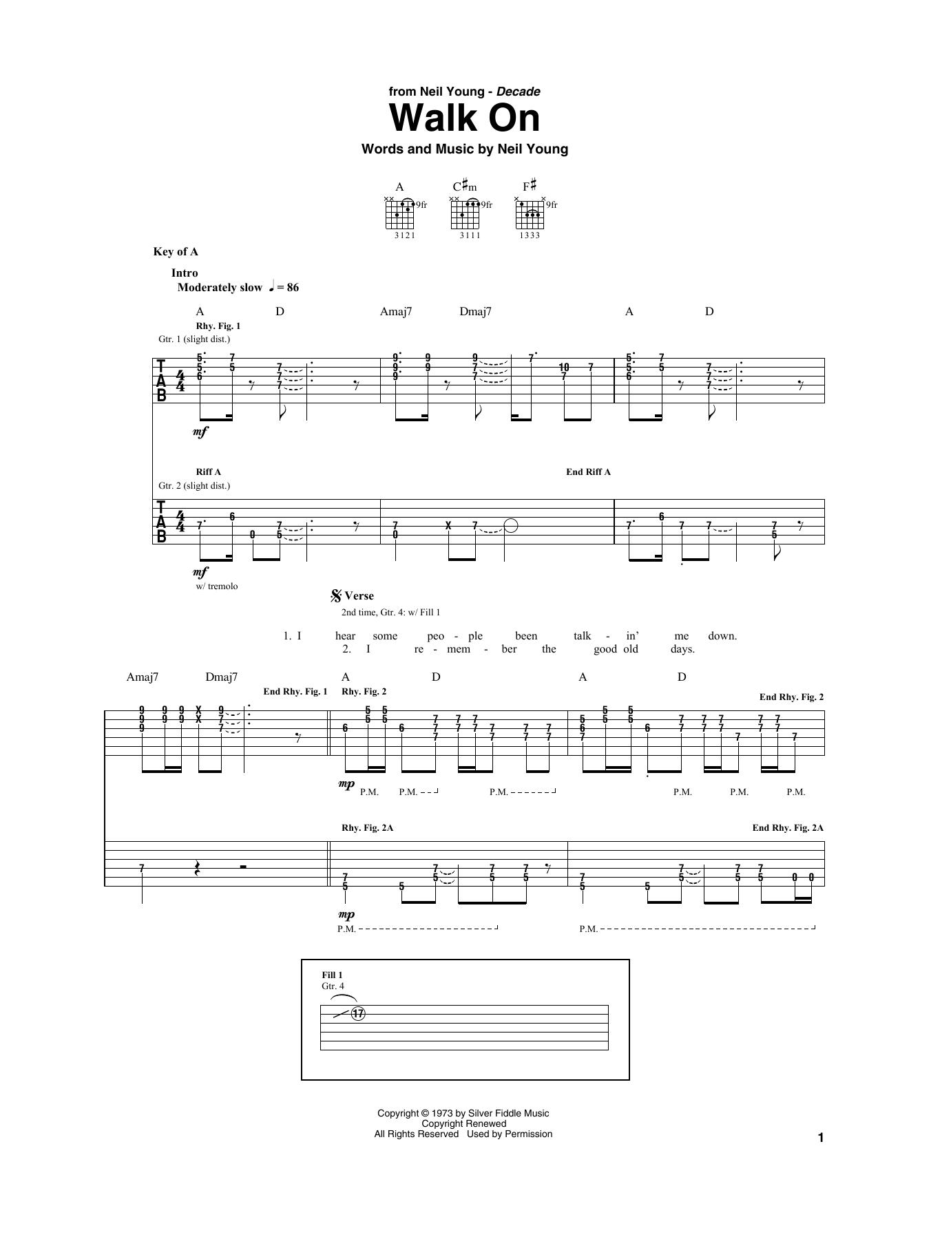 Walk On (Guitar Rhythm Tab)
