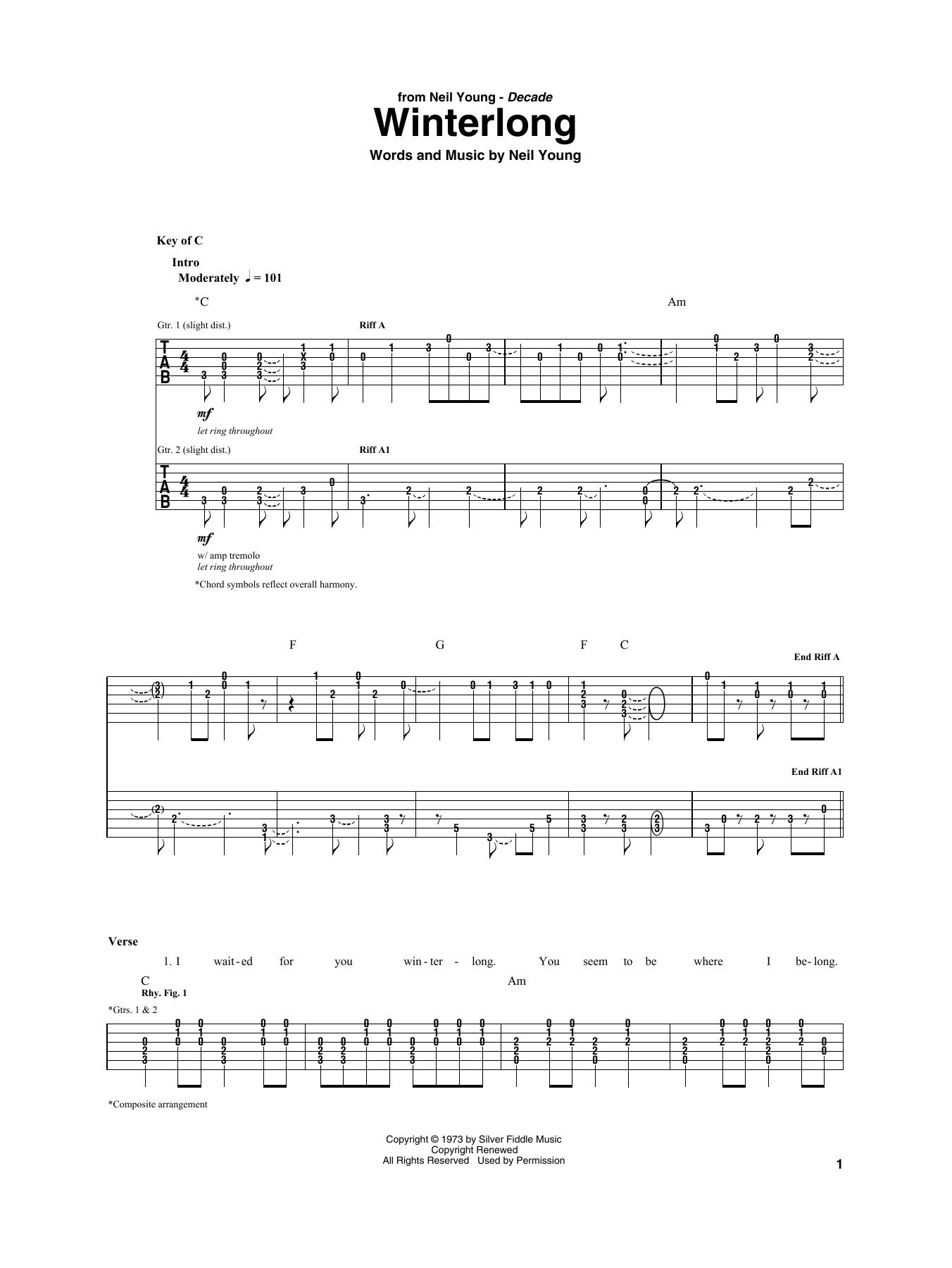 Winterlong by Neil Young - Guitar Rhythm Tab - Guitar Instructor