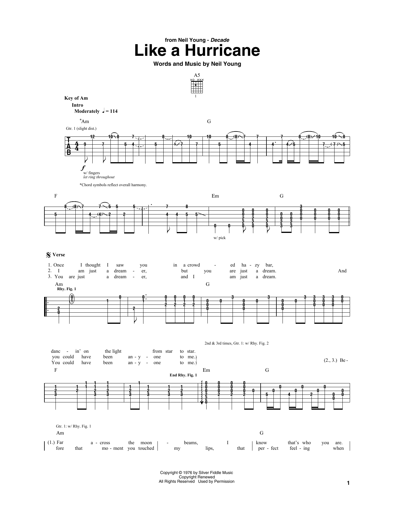 Like A Hurricane (Guitar Rhythm Tab)