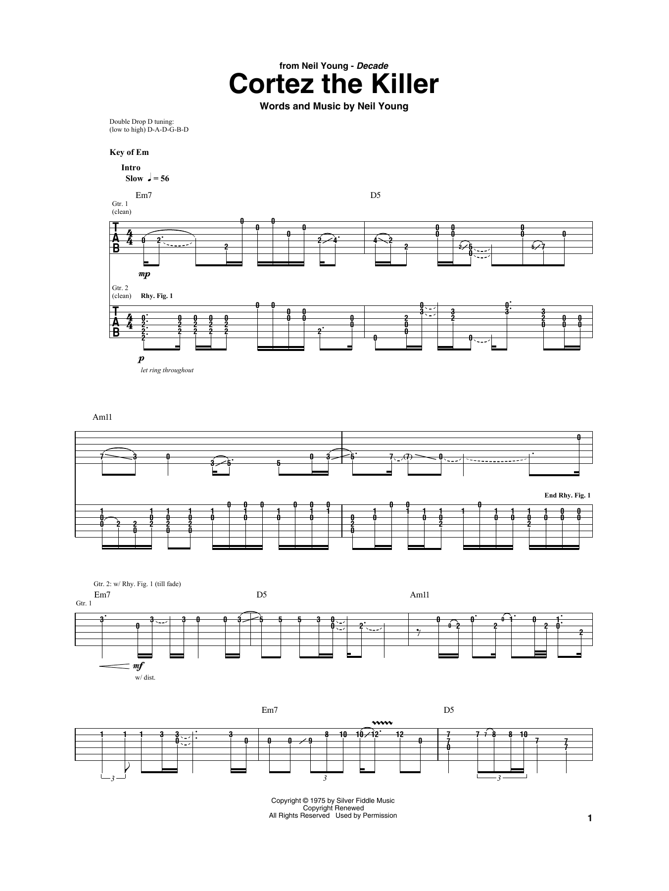 Cortez The Killer (Guitar Rhythm Tab)