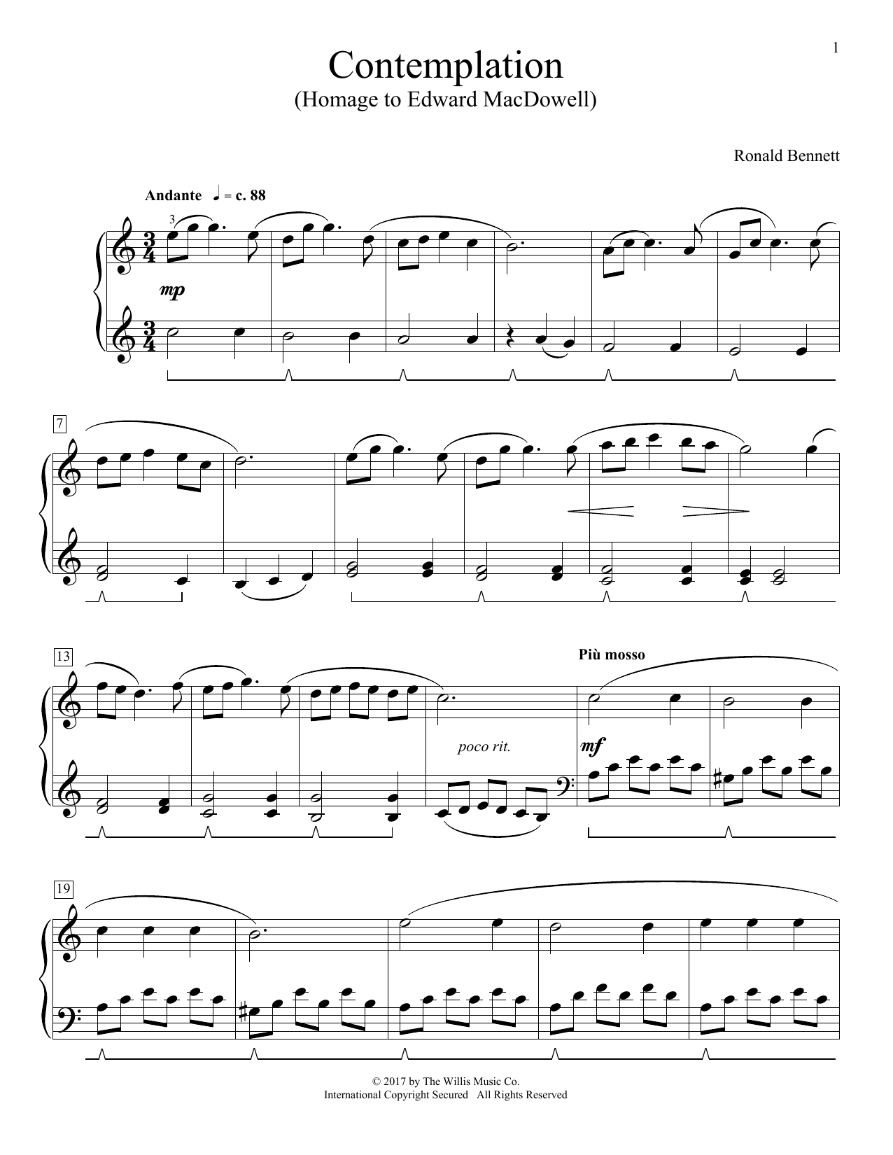 Contemplation (Homage To Edward MacDowell) (Educational Piano)