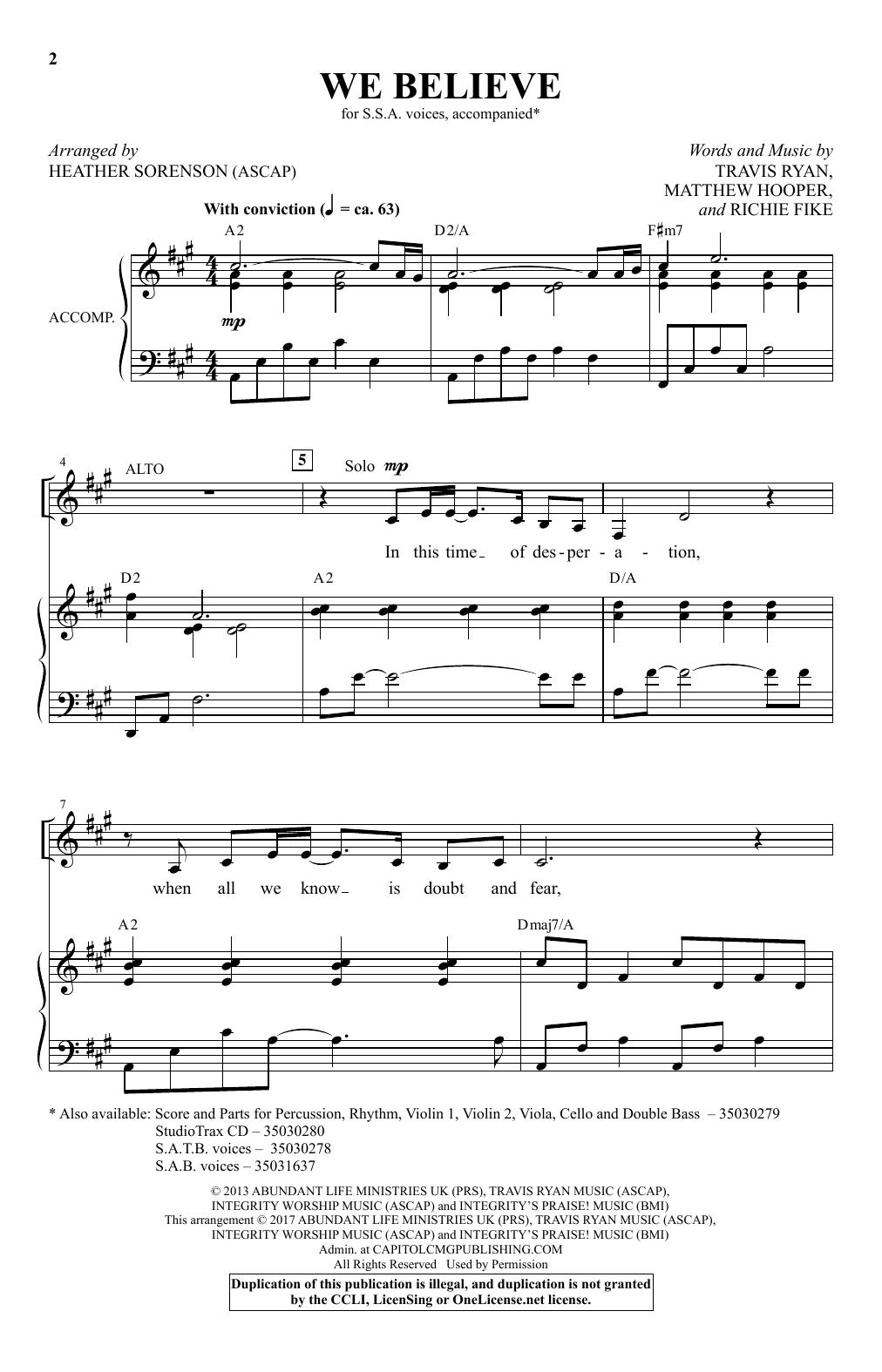 We Believe (arr. Heather Sorenson) (SSA Choir)