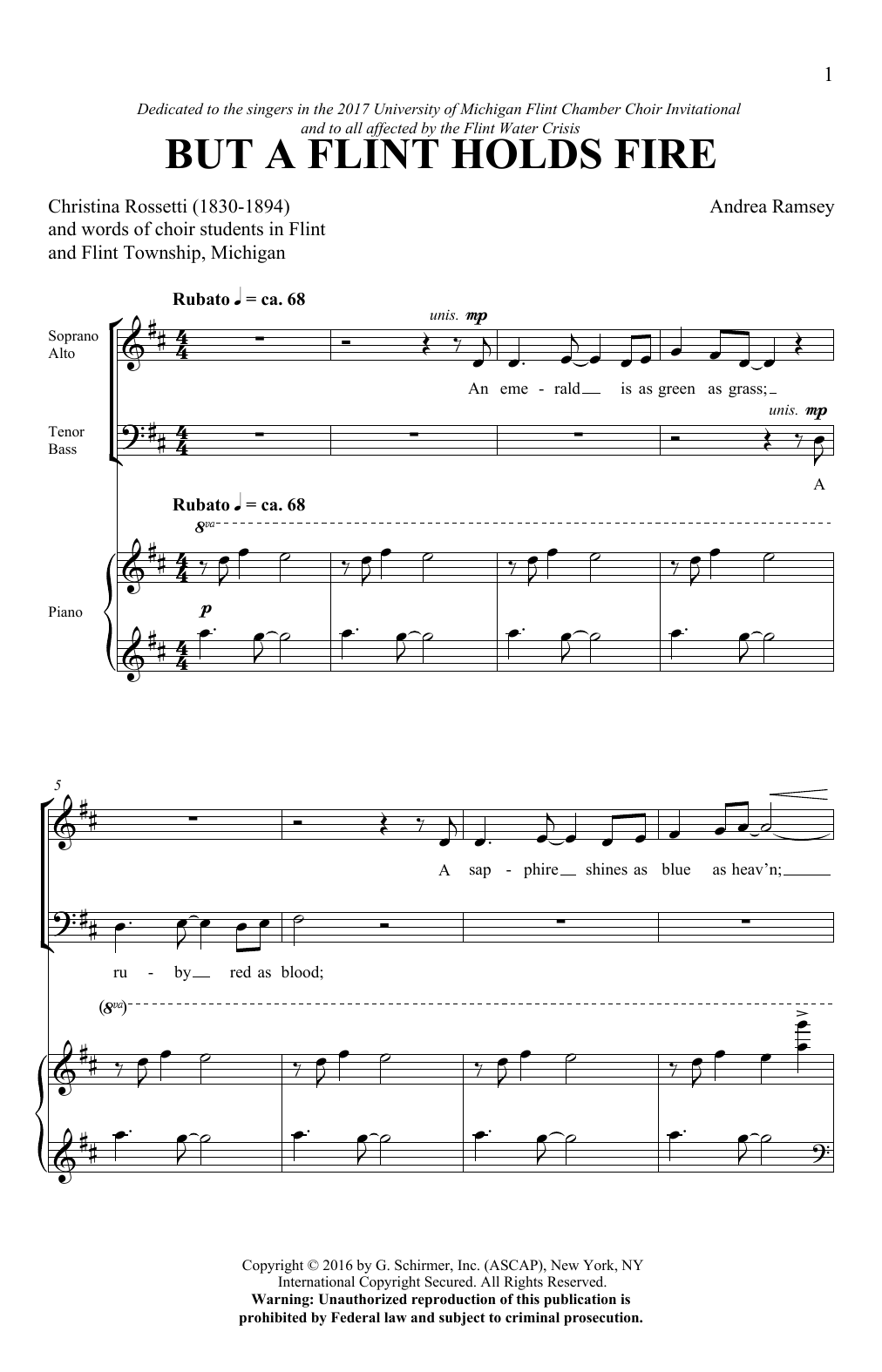 But A Flint Holds Fire (SATB Choir)