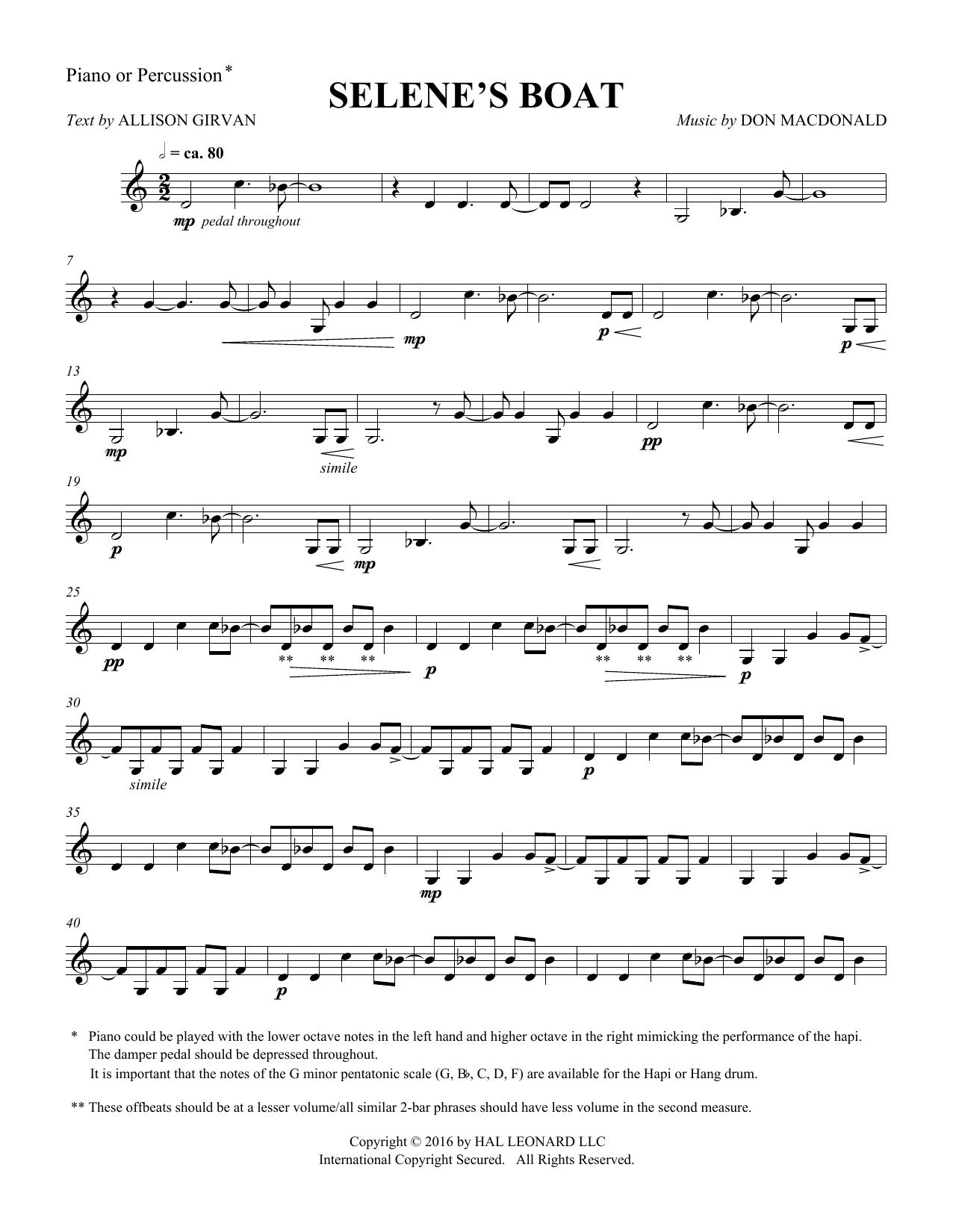 Selene's Boat - Percussion Sheet Music