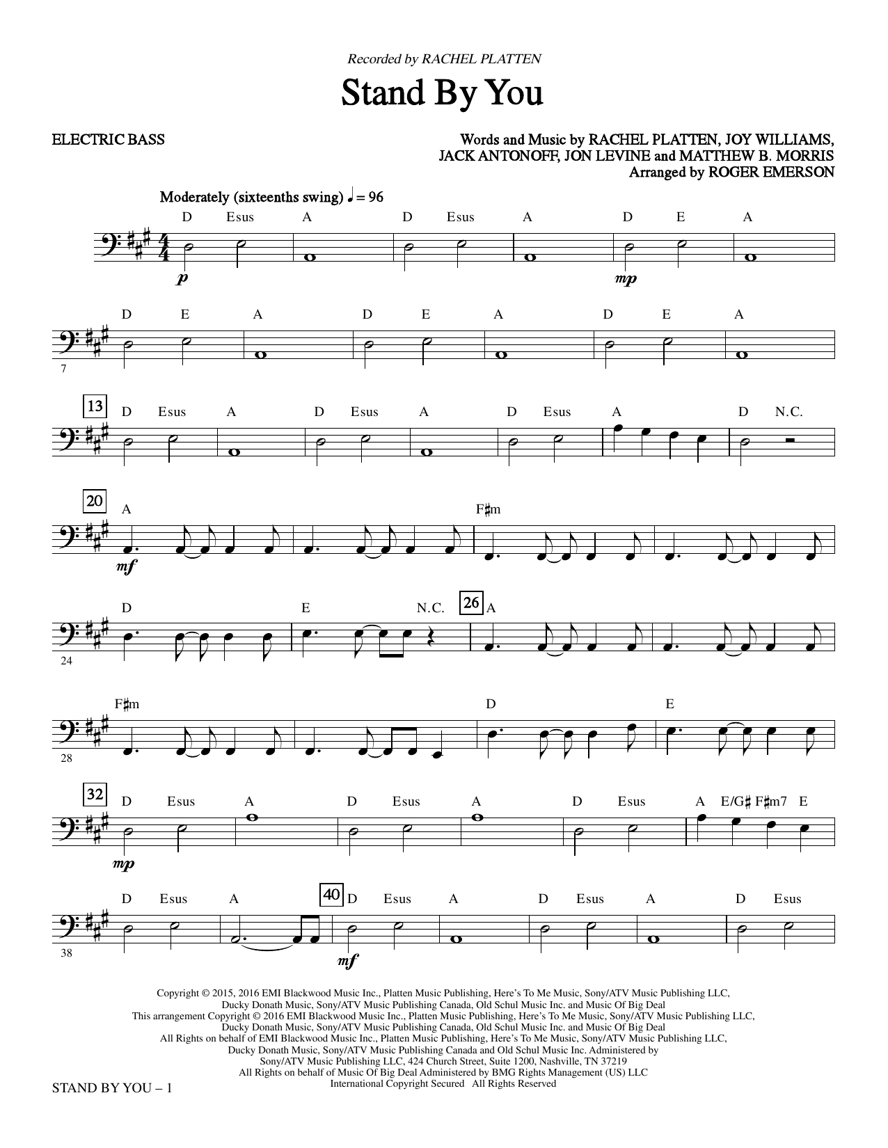 Stand By You - Bass Sheet Music