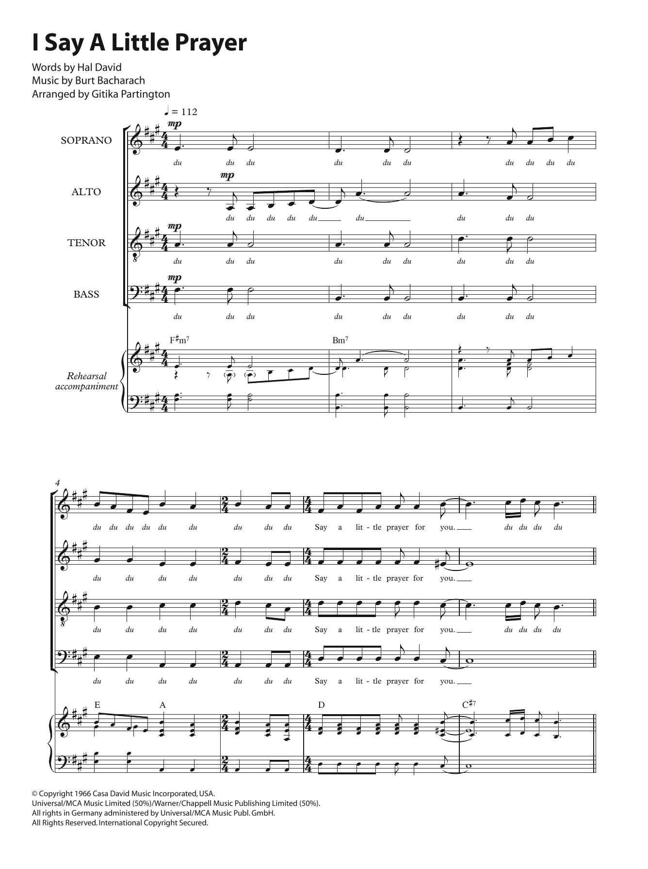 I Say A Little Prayer (arr. Gitika Partington) Partition Digitale