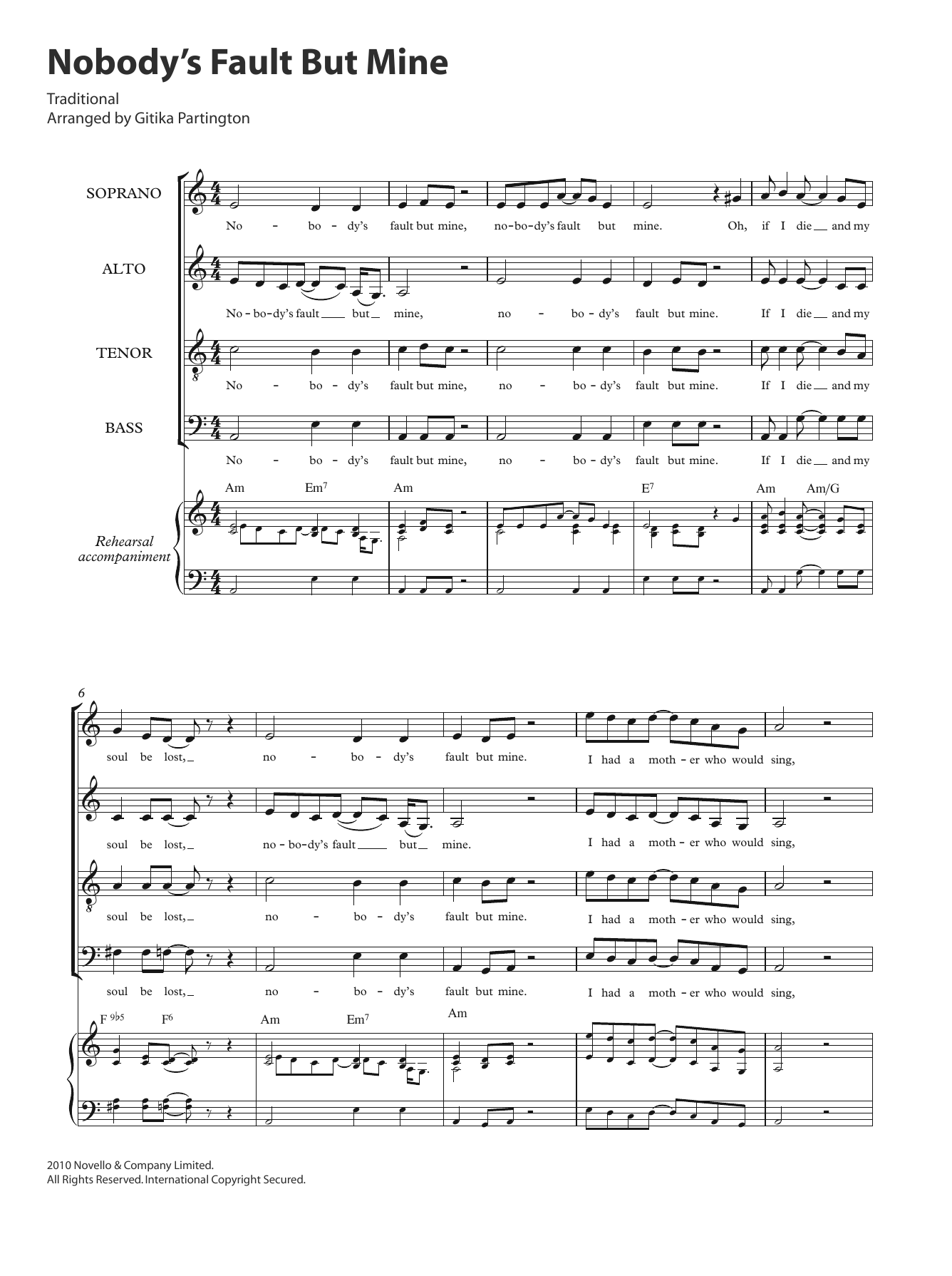 Nobody's Fault But Mine (arr. Gitika Partington) Sheet Music