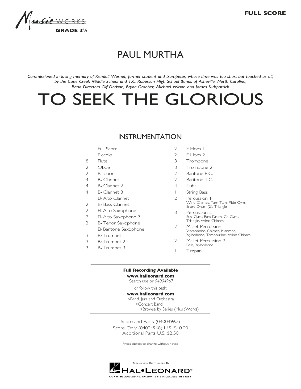 To Seek the Glorious - Conductor Score (Full Score) Sheet Music