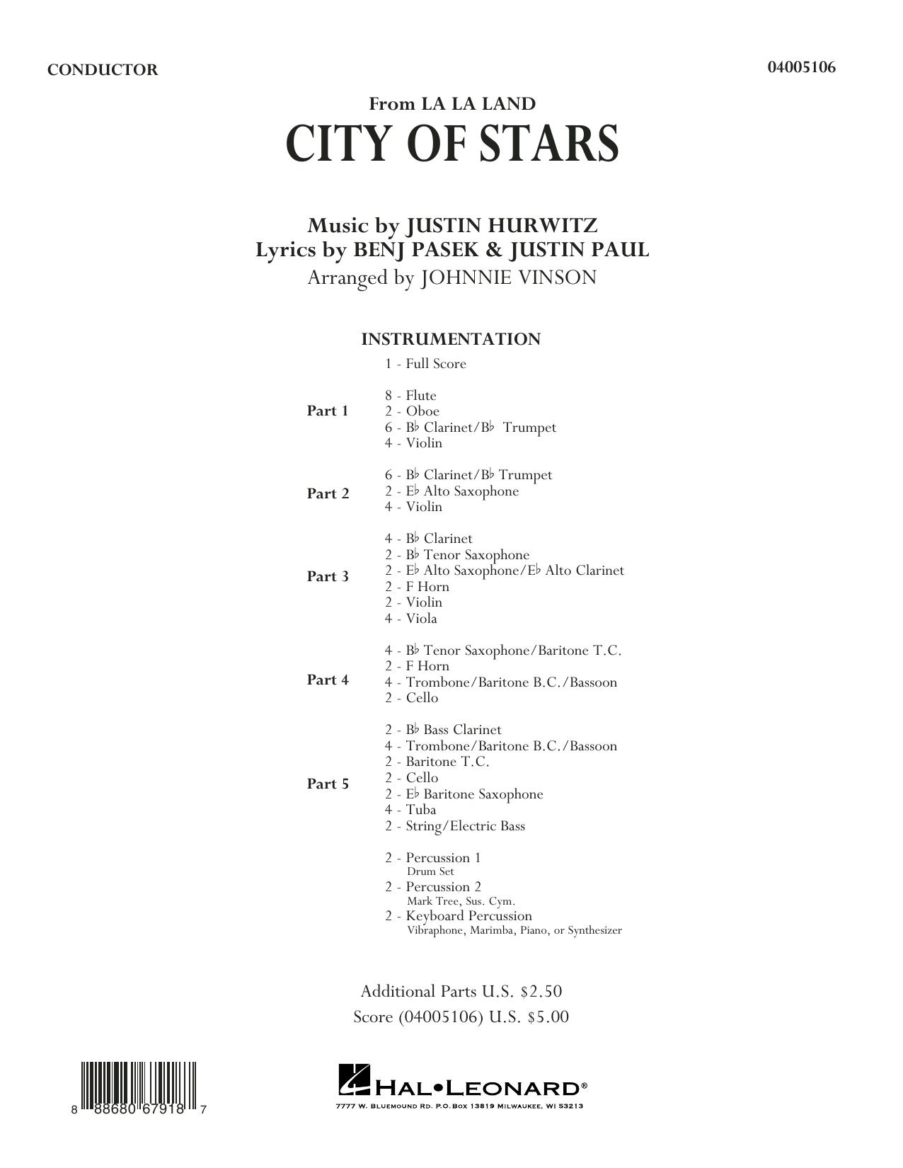 City of Stars (from La La Land) - Conductor Score (Full Score) Sheet Music