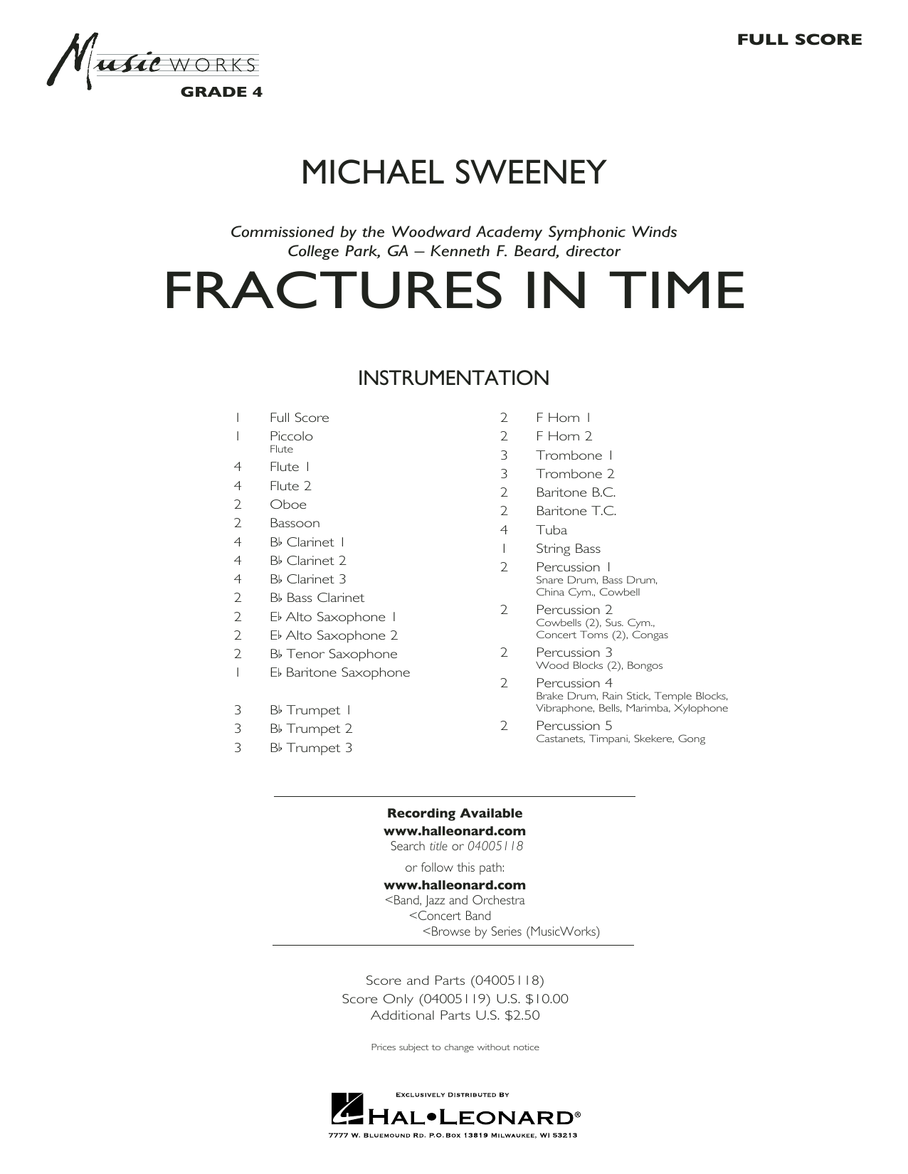 Fractures in Time (COMPLETE) sheet music for concert band by Michael Sweeney. Score Image Preview.
