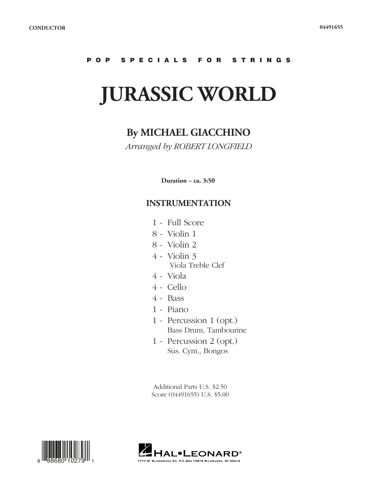 Jurassic World (COMPLETE) sheet music for orchestra by Robert Longfield and Michael Giacchino. Score Image Preview.