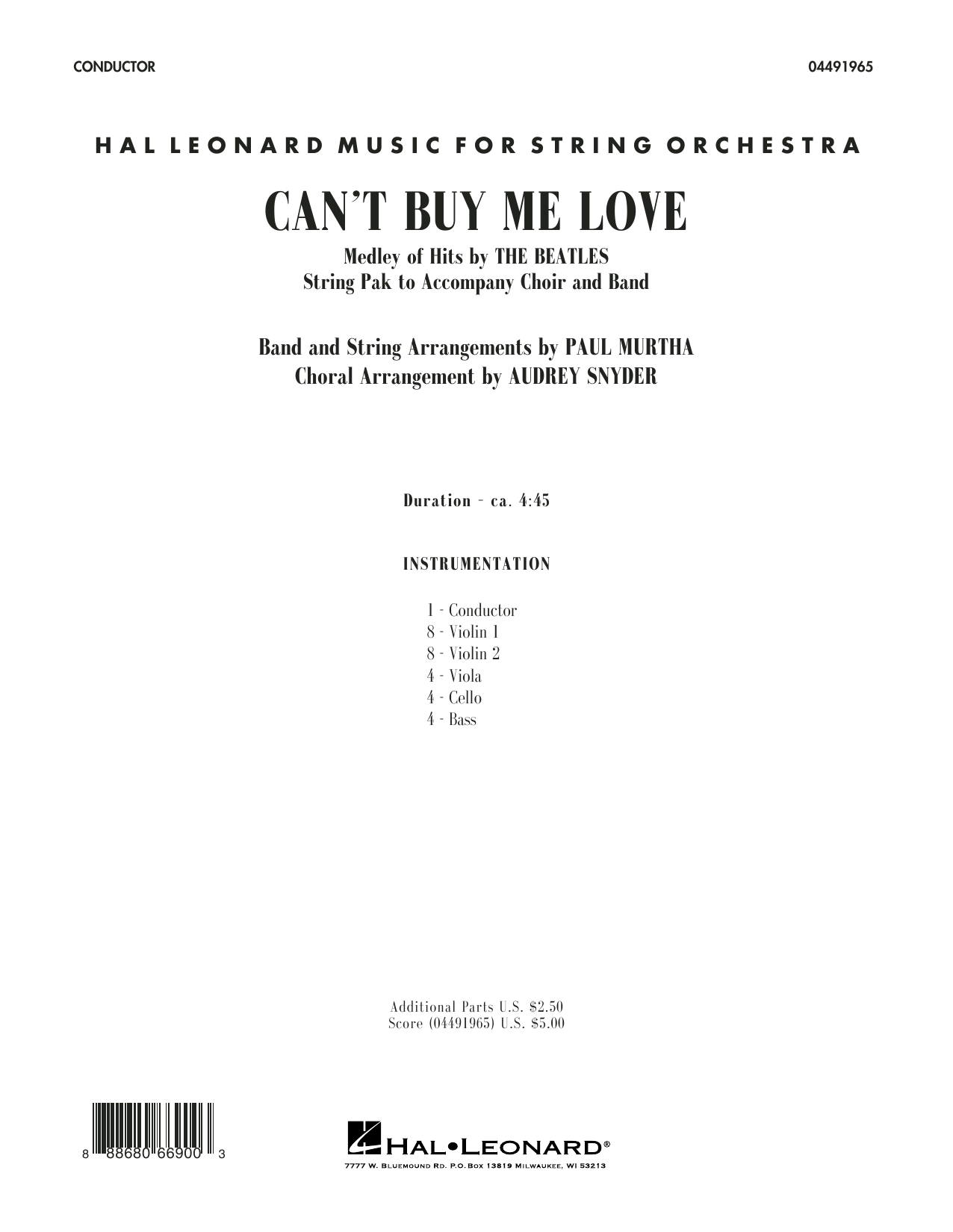Can't Buy Me Love - Conductor Score (Full Score) Sheet Music