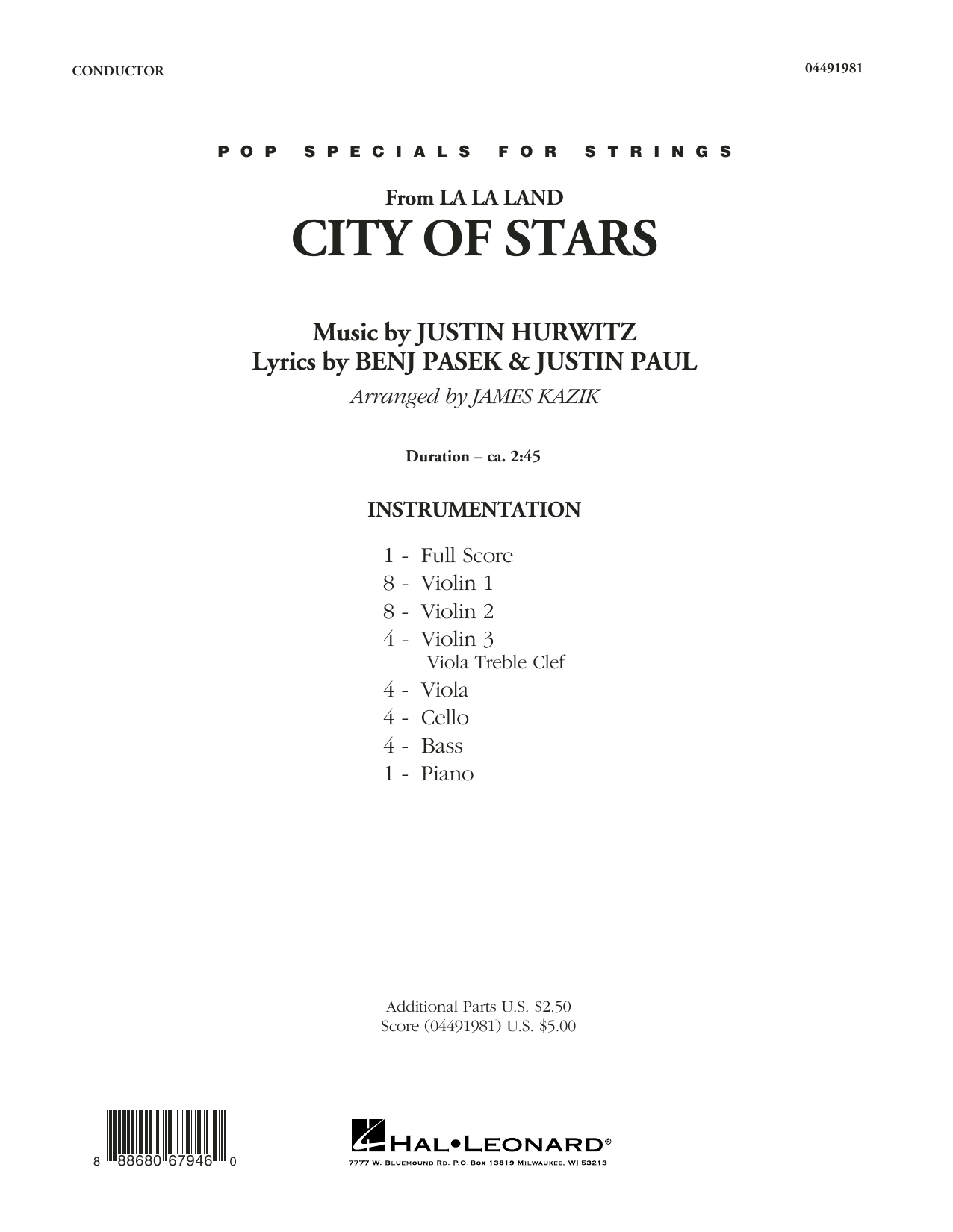City of Stars (from La La Land) - Conductor Score (Full Score) Sheet Music