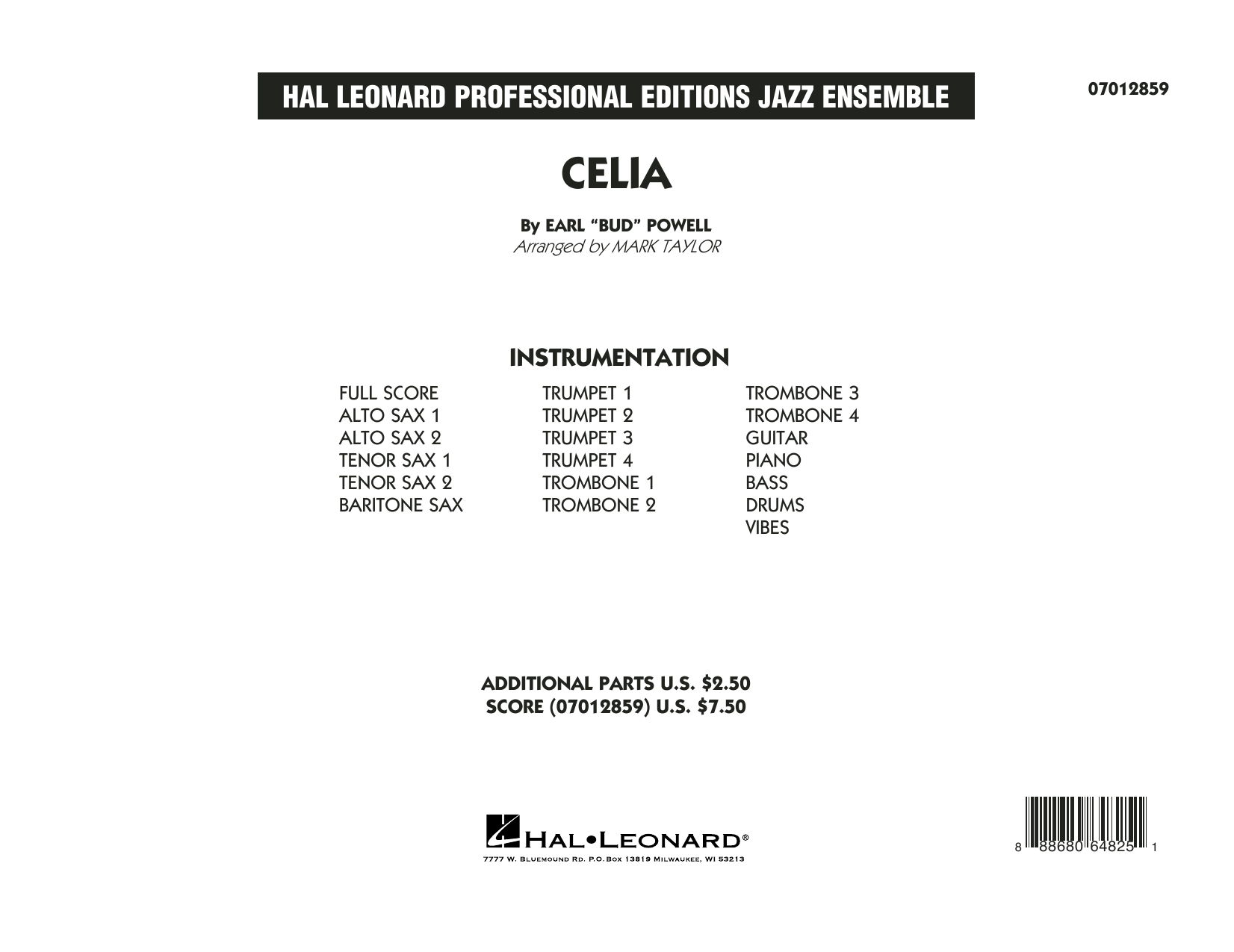 Celia (COMPLETE) sheet music for jazz band by Mark Taylor and Bud Powell. Score Image Preview.